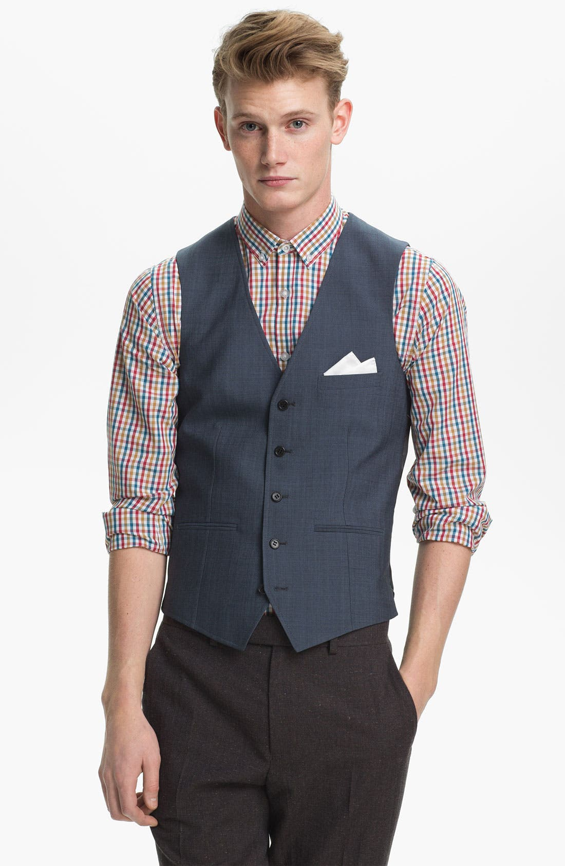 Alternate Image 1 Selected - Topman Skinny Wool Blend Waistcoat