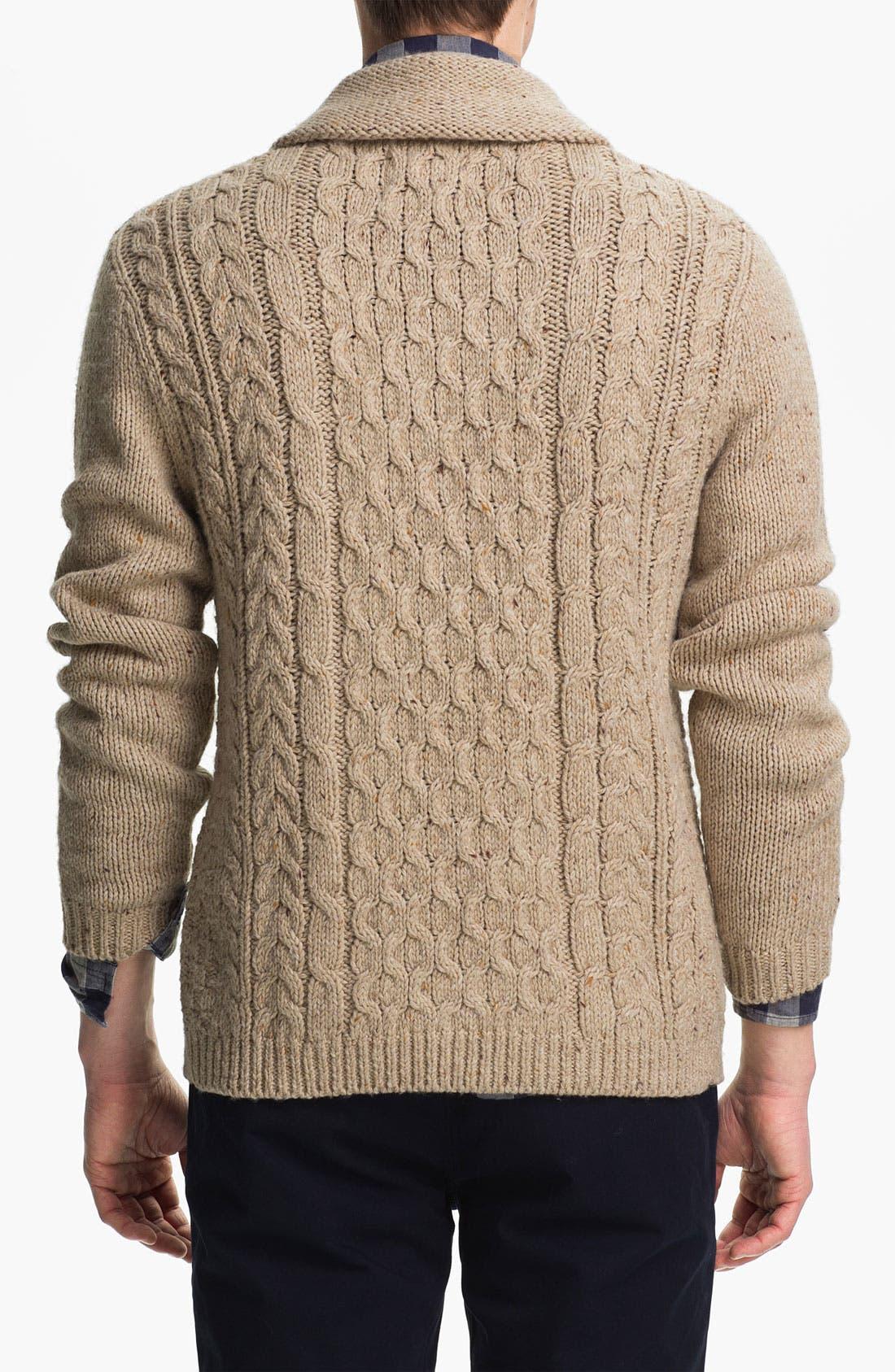 Alternate Image 2  - Topman Cable Knit Shawl Collar Cardigan