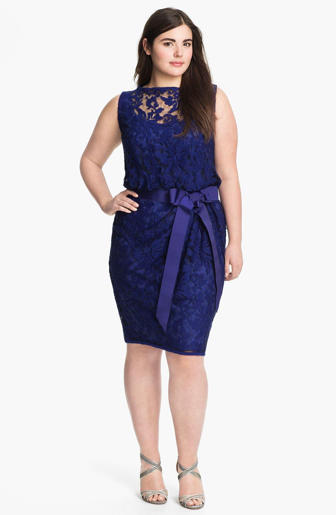 Alternate Image 1 Selected - Tadashi Shoji Ribbon Tie Lace Overlay Dress (Plus Size)