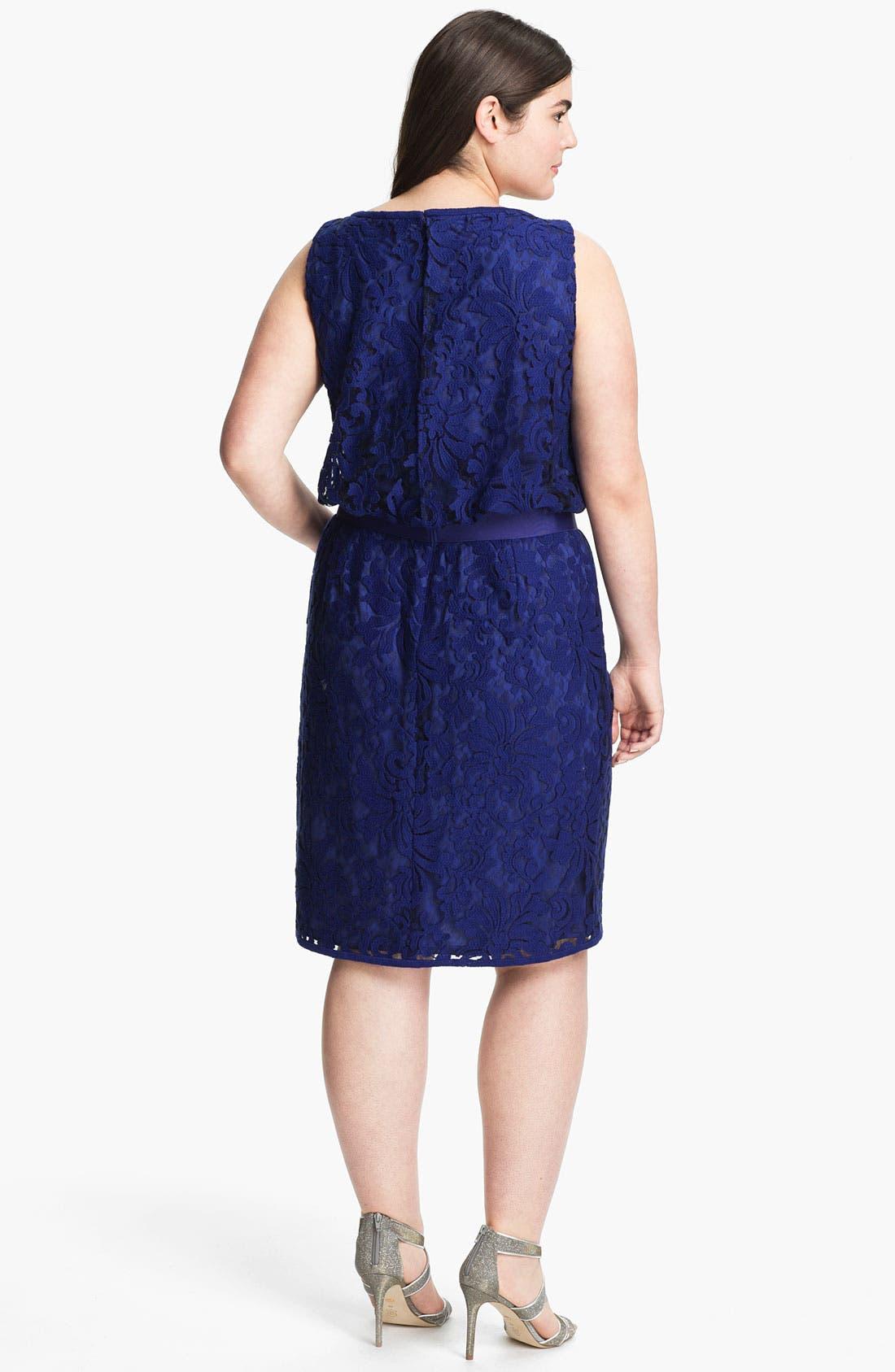 Alternate Image 2  - Tadashi Shoji Ribbon Tie Lace Overlay Dress (Plus Size)