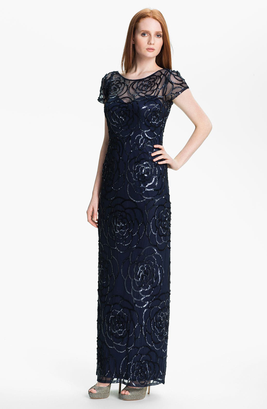 Alternate Image 1 Selected - Aidan Mattox Sequin Mesh Gown