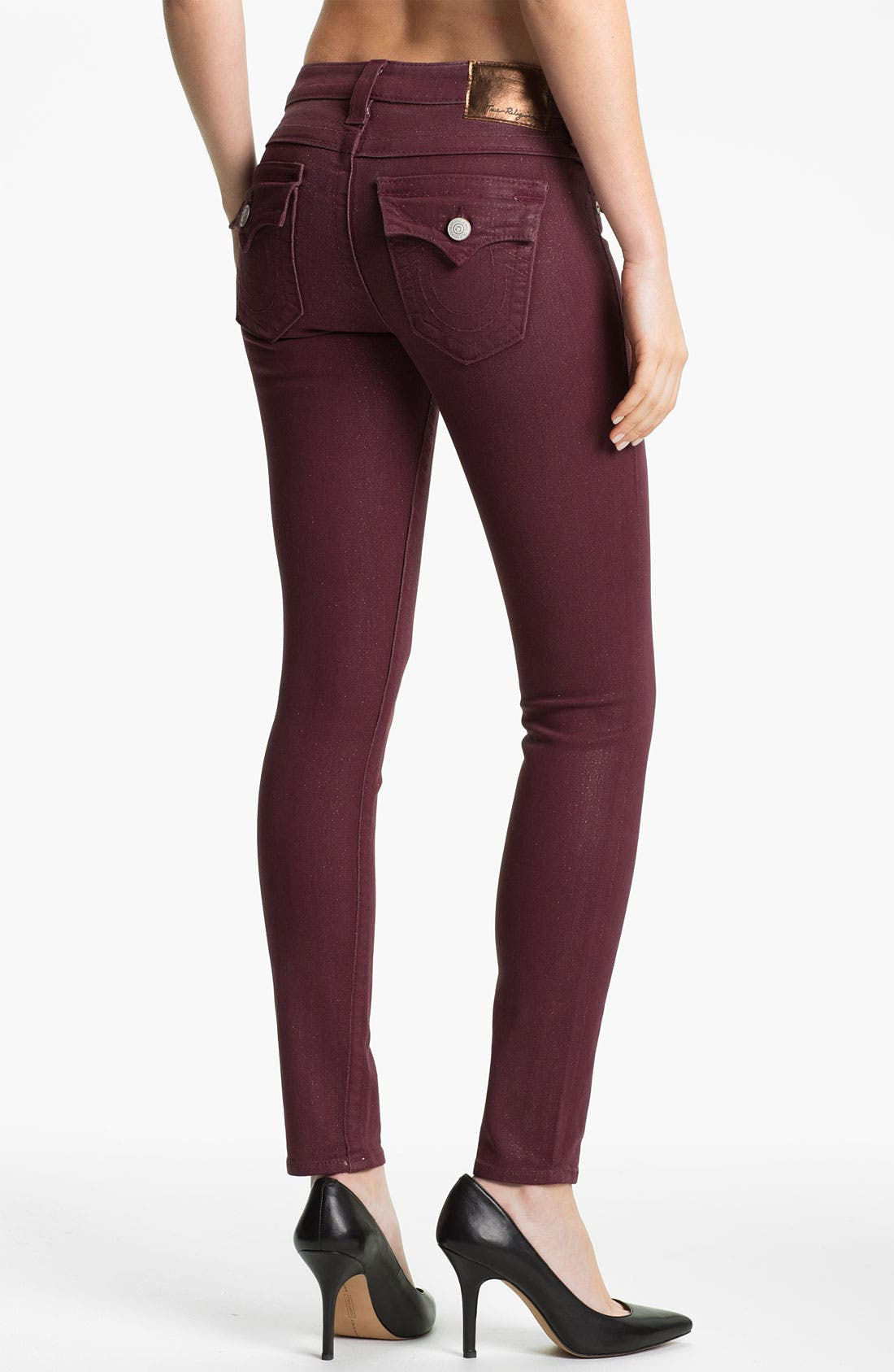 Alternate Image 2  - True Religion Brand Jeans 'Serena' Coated Skinny Leg Jeans (Maroon)