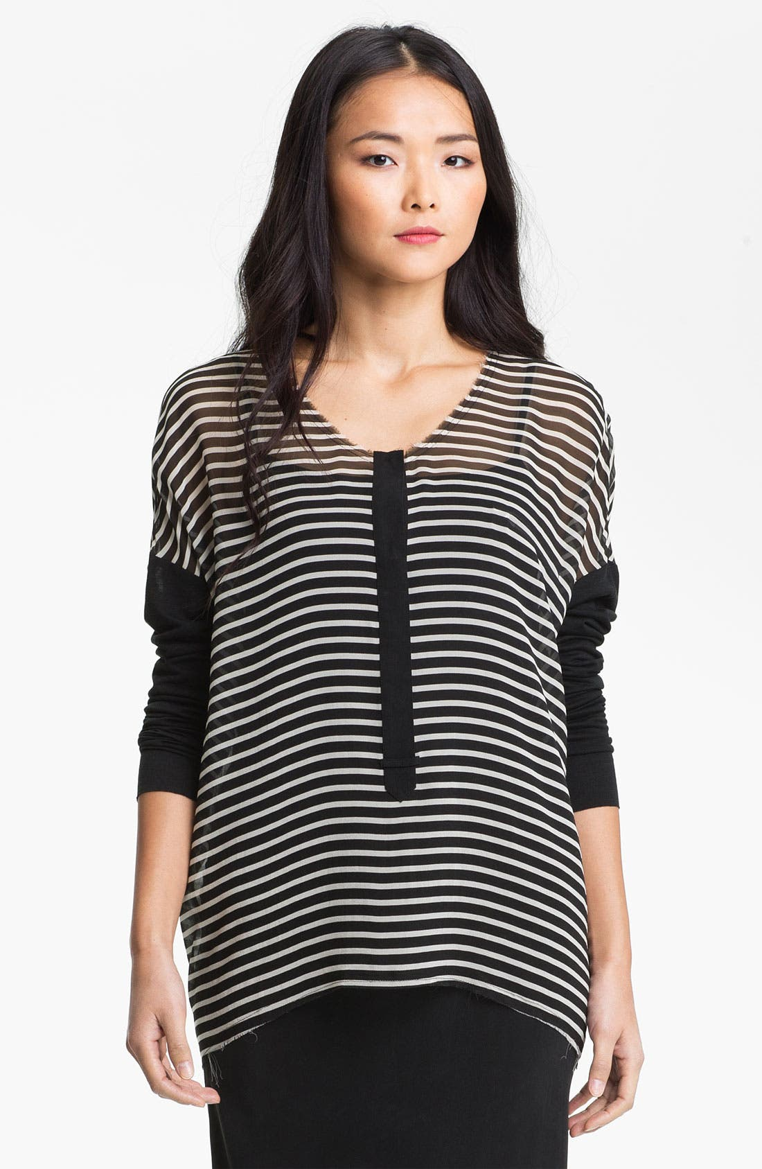 Main Image - Go by Go Silk 'Go Popover' Stripe Henley Blouse (Online Exclusive)