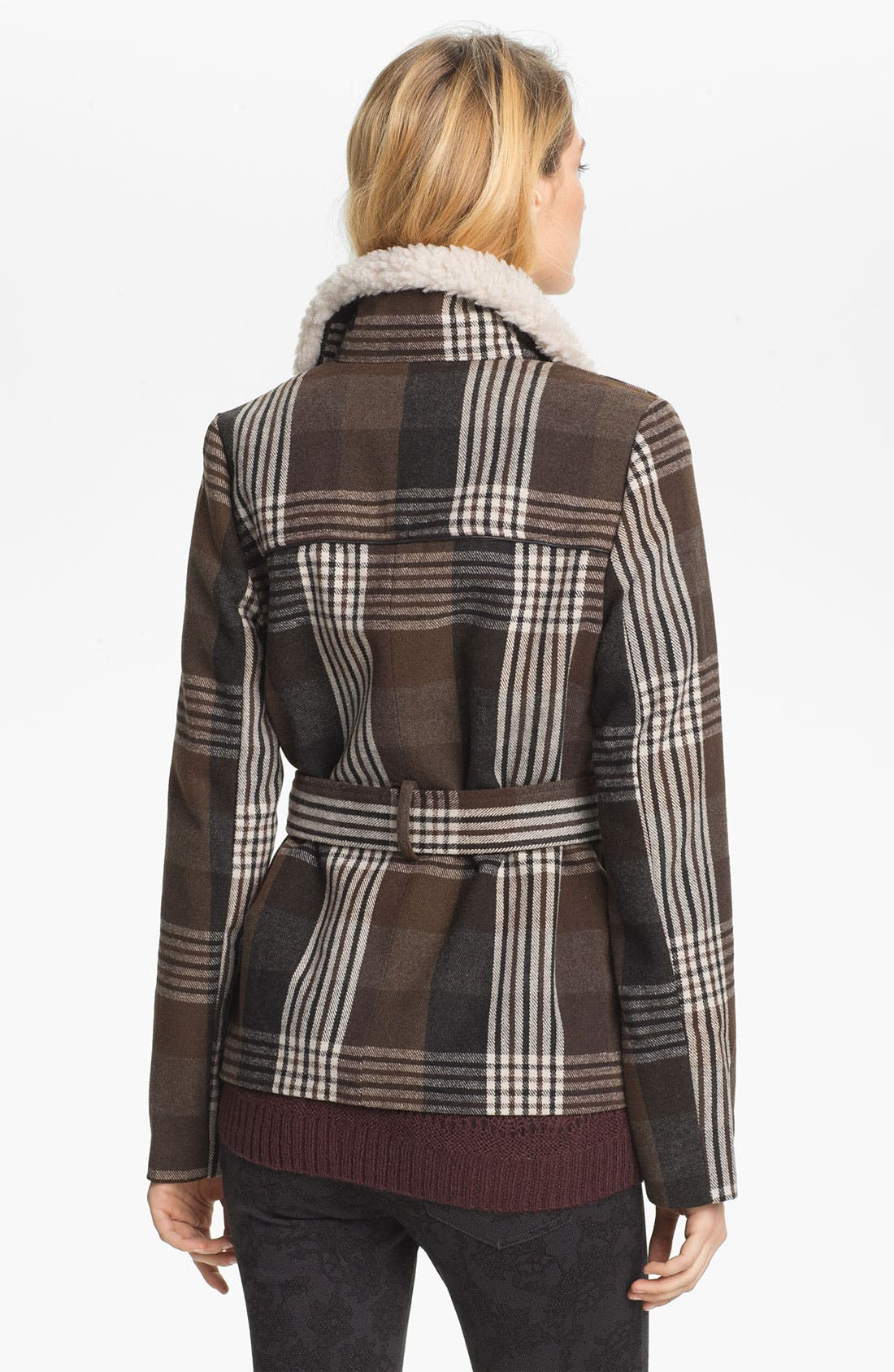 Alternate Image 2  - Jack Faux Shearling Collar Plaid Coat (Juniors)