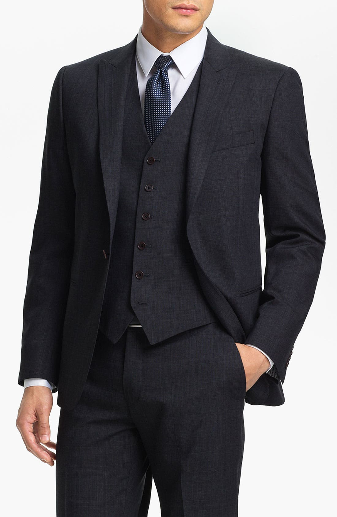 Alternate Image 1 Selected - John Varvatos Star USA 'Irving' Trim Fit Three Piece Suit