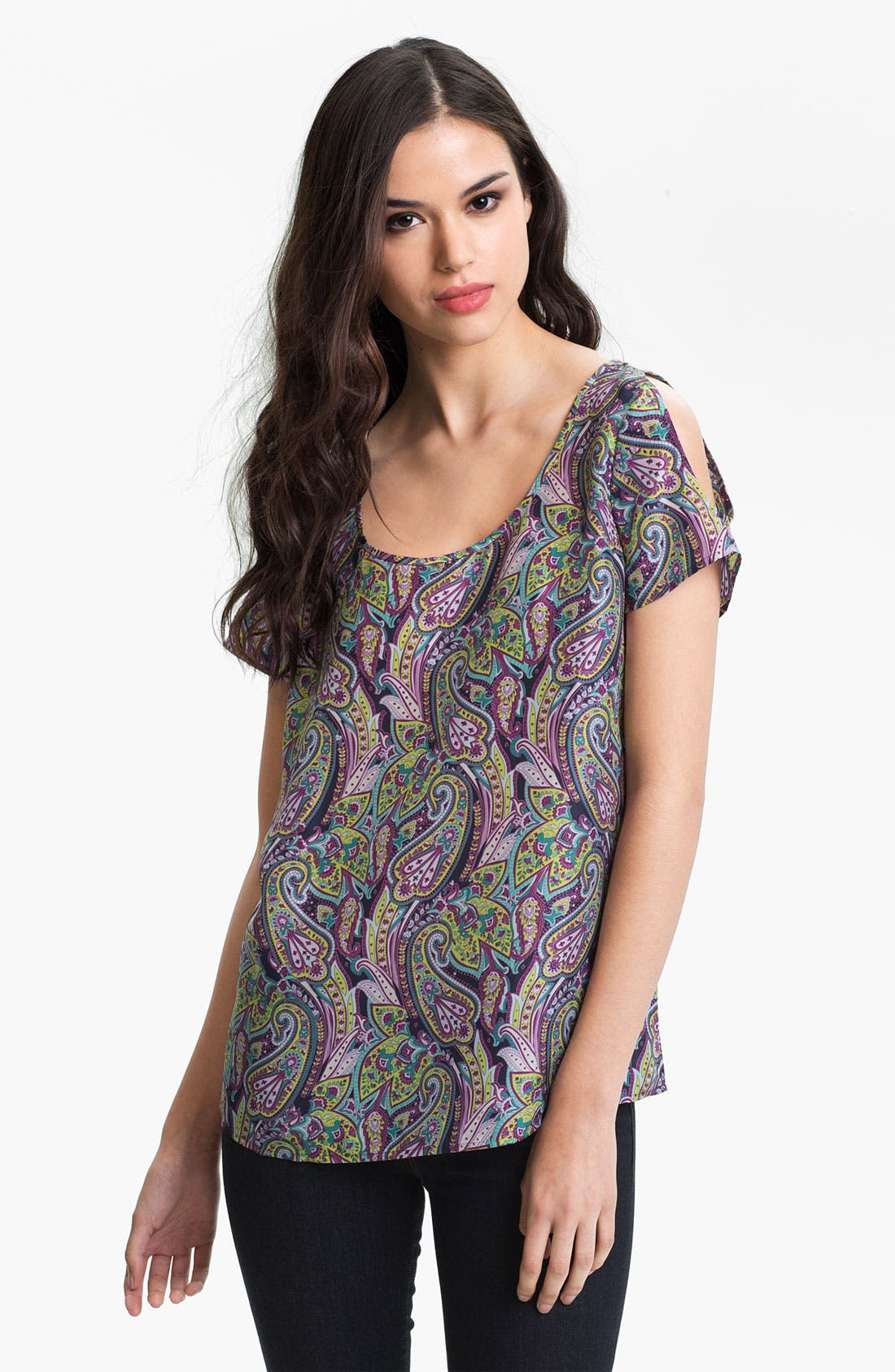 Alternate Image 1 Selected - Hinge® Split Shoulder Paisley Silk Top