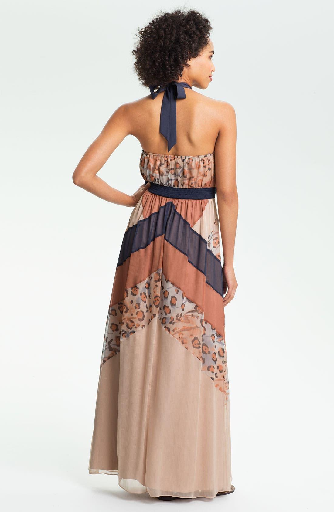Alternate Image 2  - Jessica Simpson Print Chiffon Halter Maxi Dress