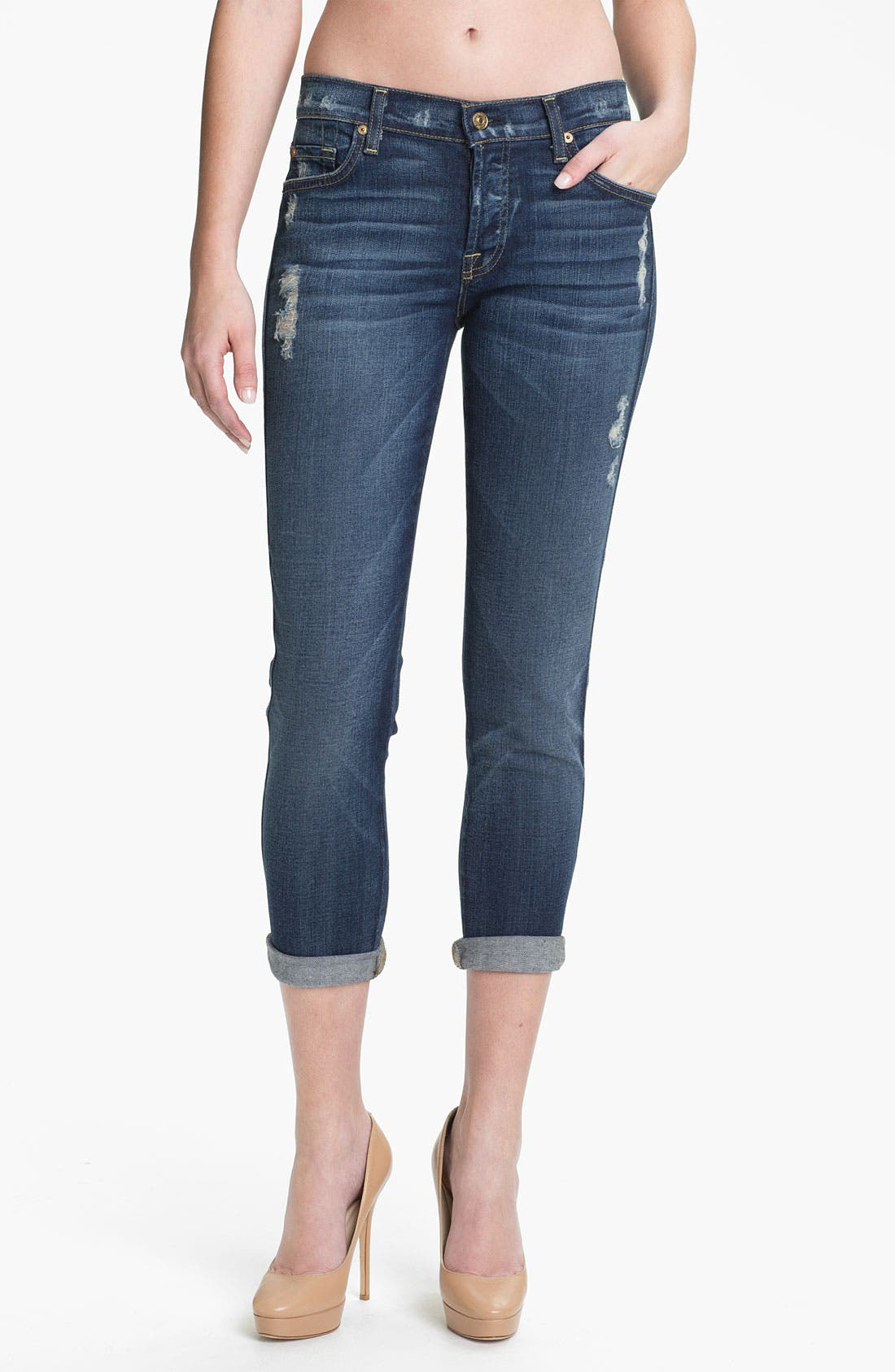 Main Image - 7 For All Mankind® 'Josephina' Crop Skinny Jeans (Distressed Starry Night)