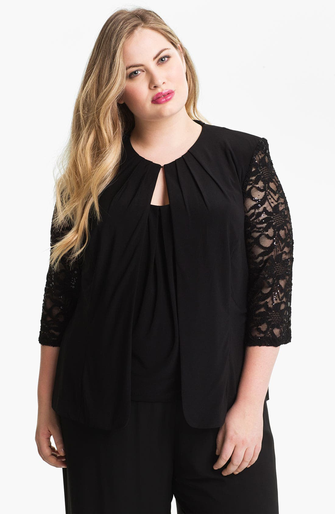 Alternate Image 1 Selected - Alex Evenings Lace Sleeve Jersey Twinset (Plus)