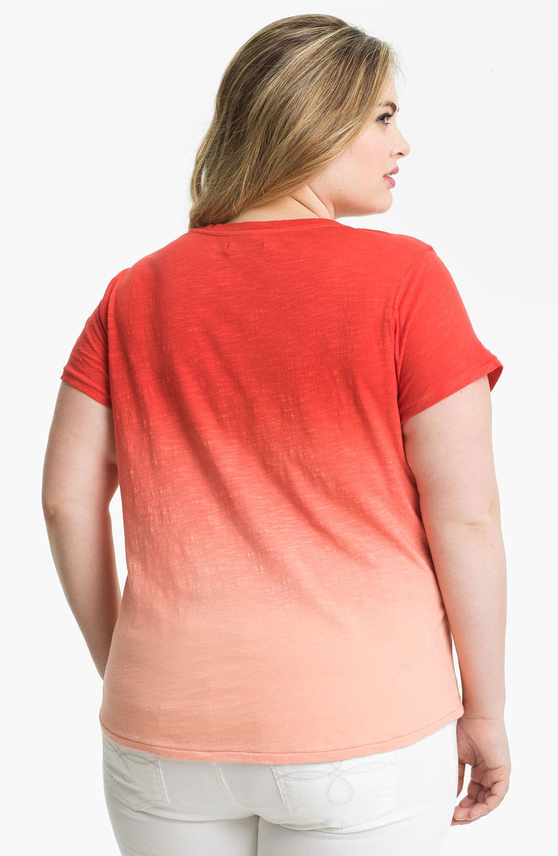 Alternate Image 2  - Lucky Brand Embroidered Cotton Tee (Plus Size)