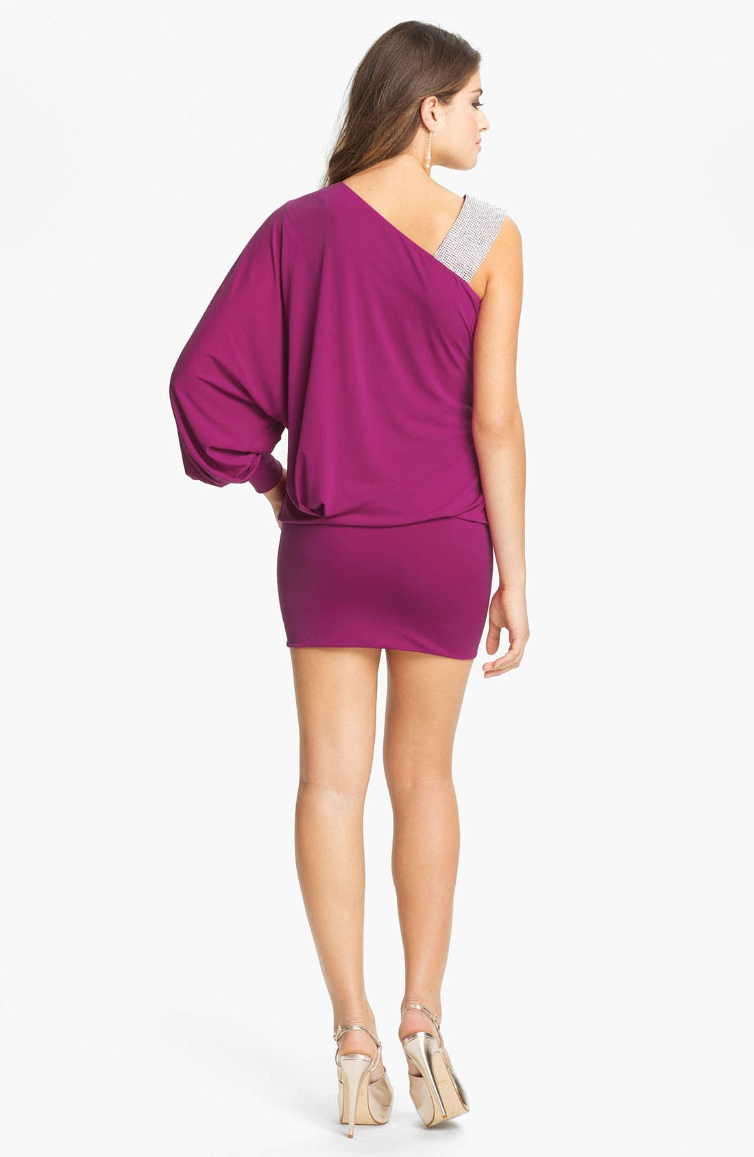 Alternate Image 3  - Julian Joyce Embellished Strap One Sleeve Blouson Minidress