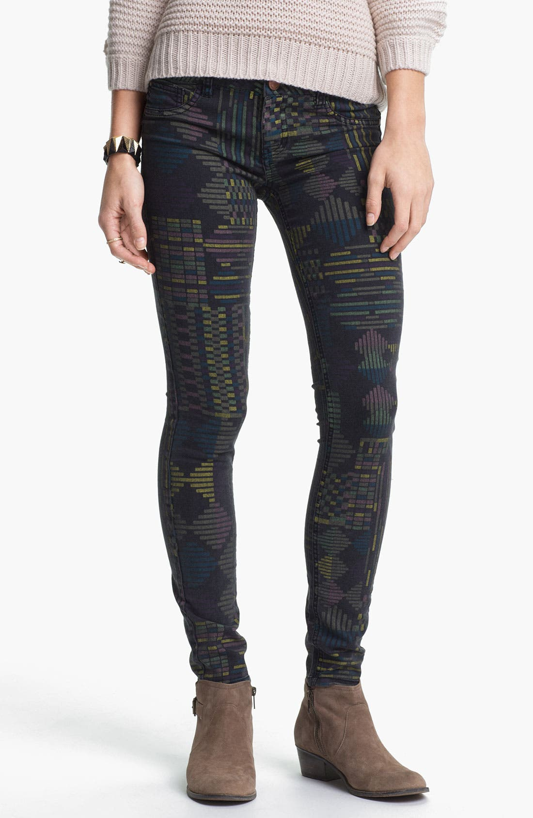 Alternate Image 3  - Fire Print Skinny Jeans (Geo Print) (Juniors)