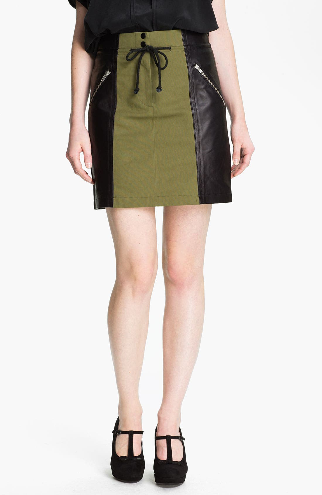 Alternate Image 1 Selected - Cut25 Leather Panel Cotton Skirt