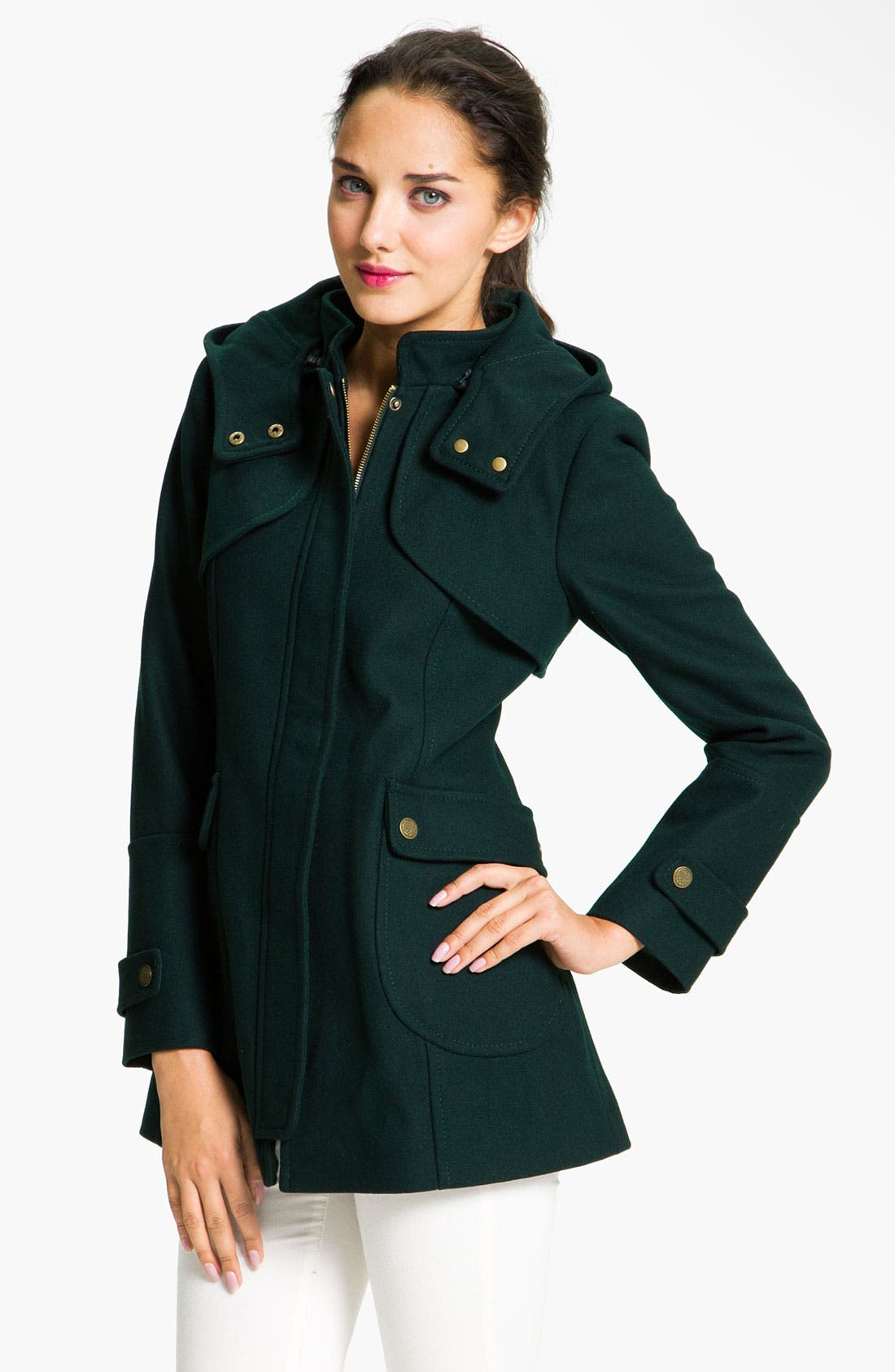 Alternate Image 1 Selected - Vince Camuto Wool Blend Jacket with Detachable Hood (Petite)