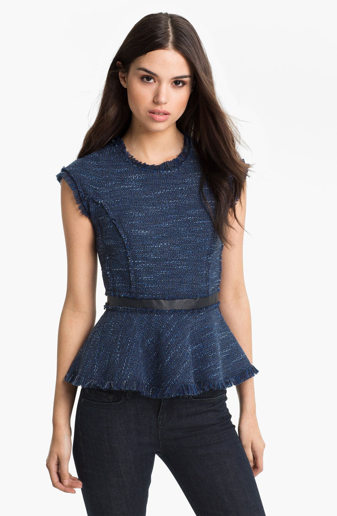 Alternate Image 1 Selected - Rebecca Taylor Tweed Peplum Top