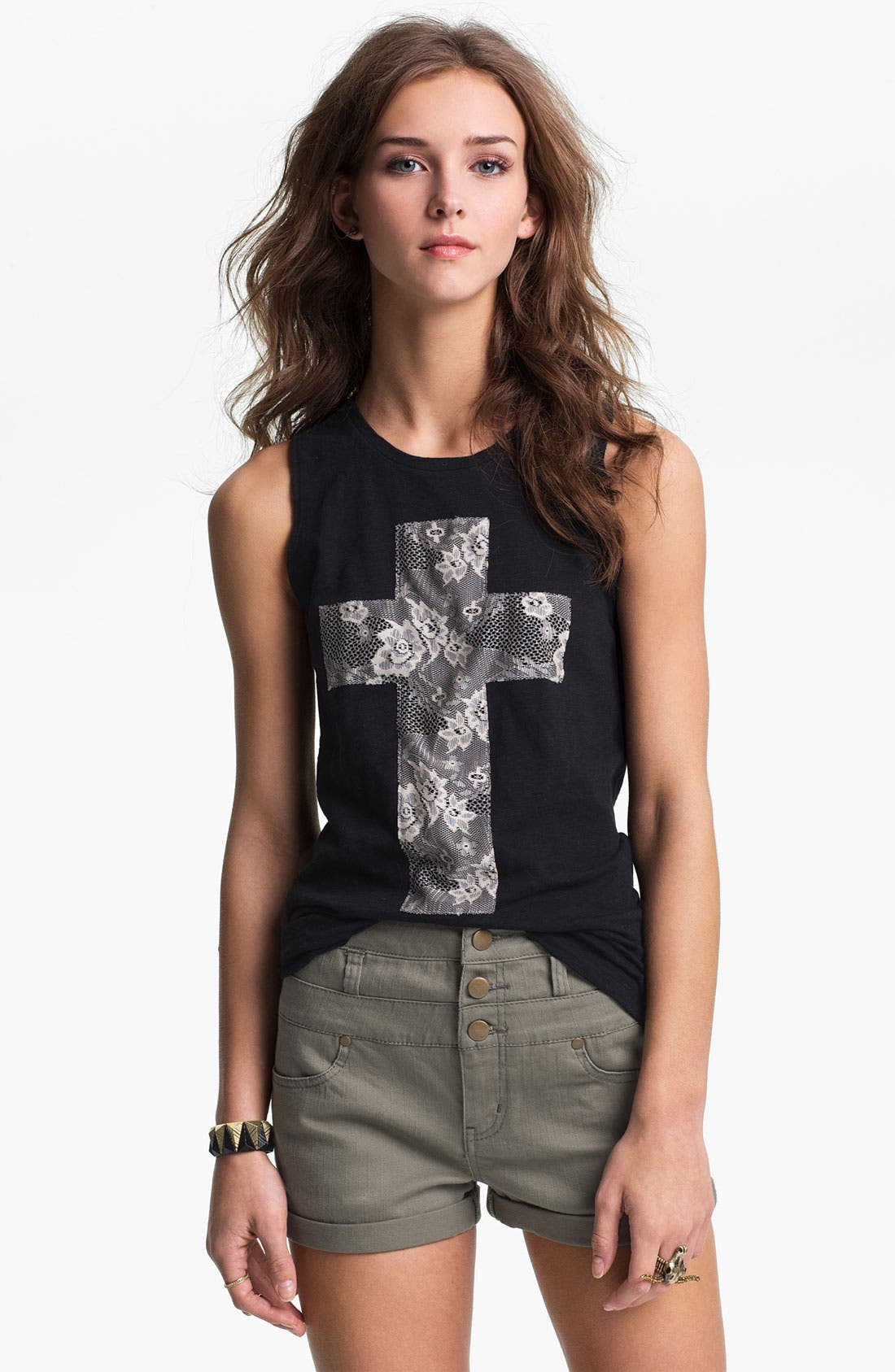 Alternate Image 1 Selected - Ten Sixty Sherman Lace Cross Appliqué Tank (Juniors)