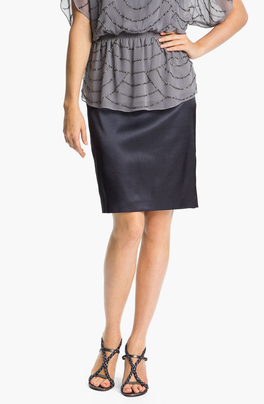 Main Image - Adrianna Papell Stretch Charmeuse Pencil Skirt (Petite)