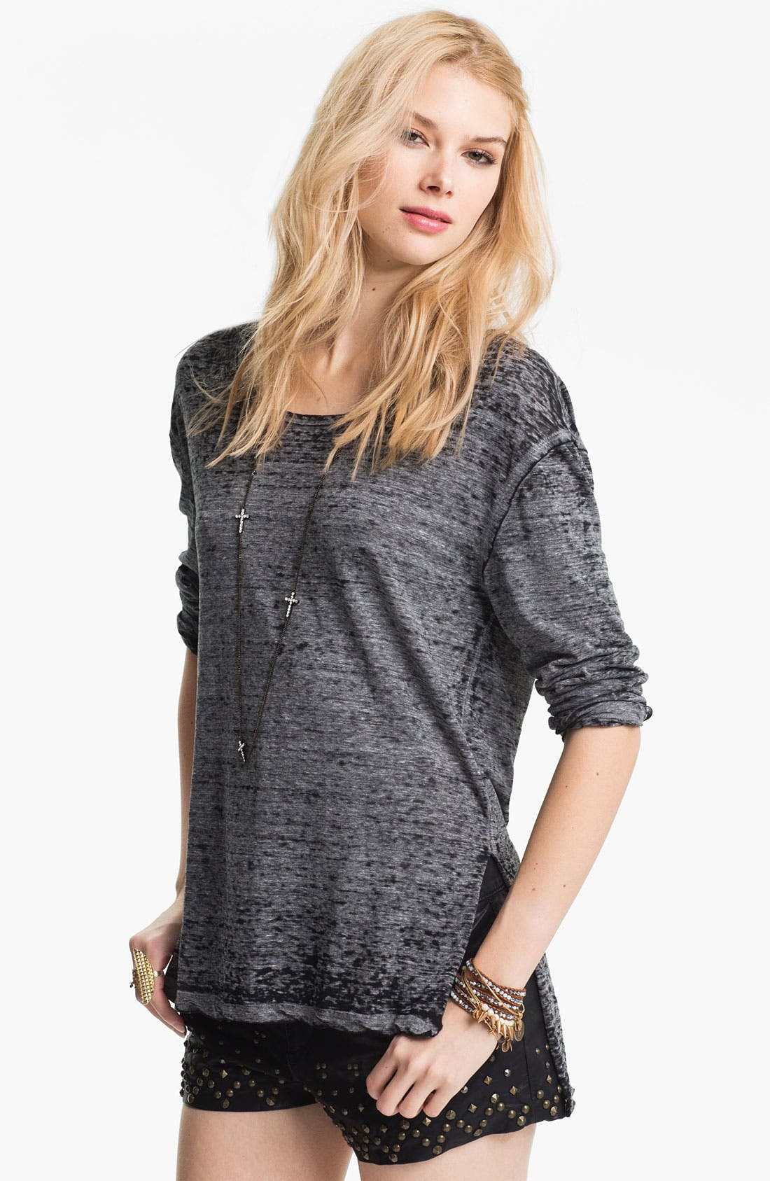 Main Image - Free People Oversized Rounded Neckline Burnout Tee
