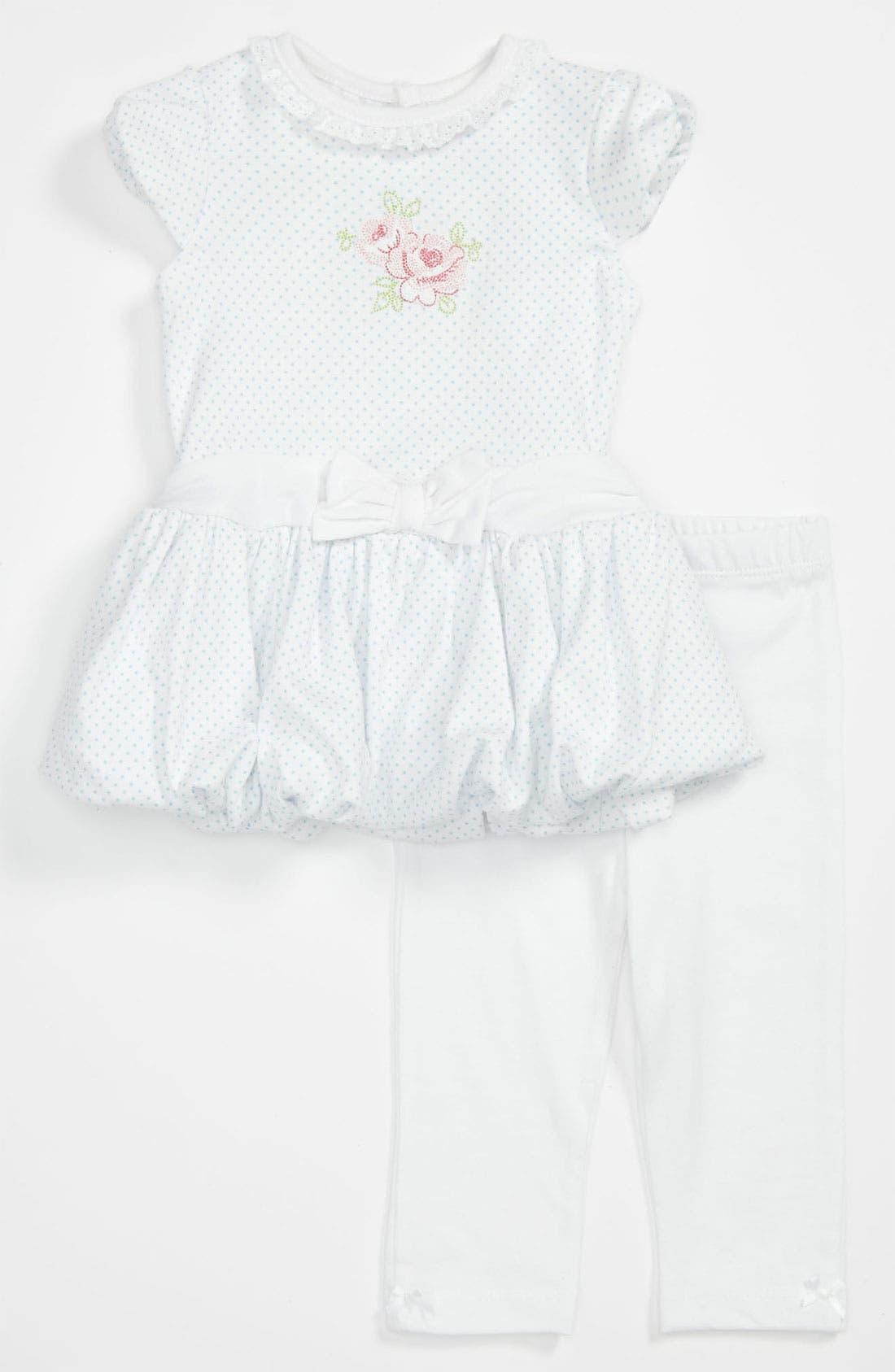Alternate Image 1 Selected - Little Me 'Rose Bloom' Dress & Leggings (Infant)
