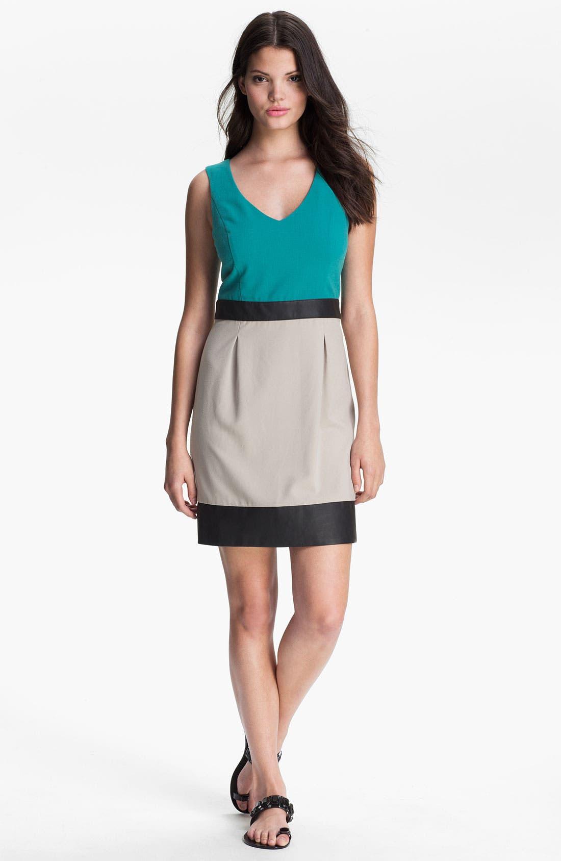 Main Image - Kensie Faux Leather Trim Colorblock Dress