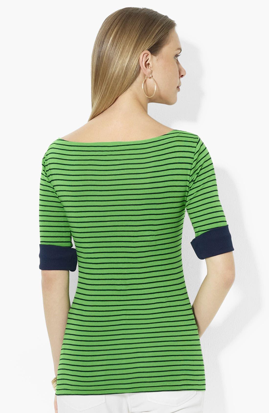 Alternate Image 2  - Lauren Ralph Lauren Elbow Sleeve Stripe Top