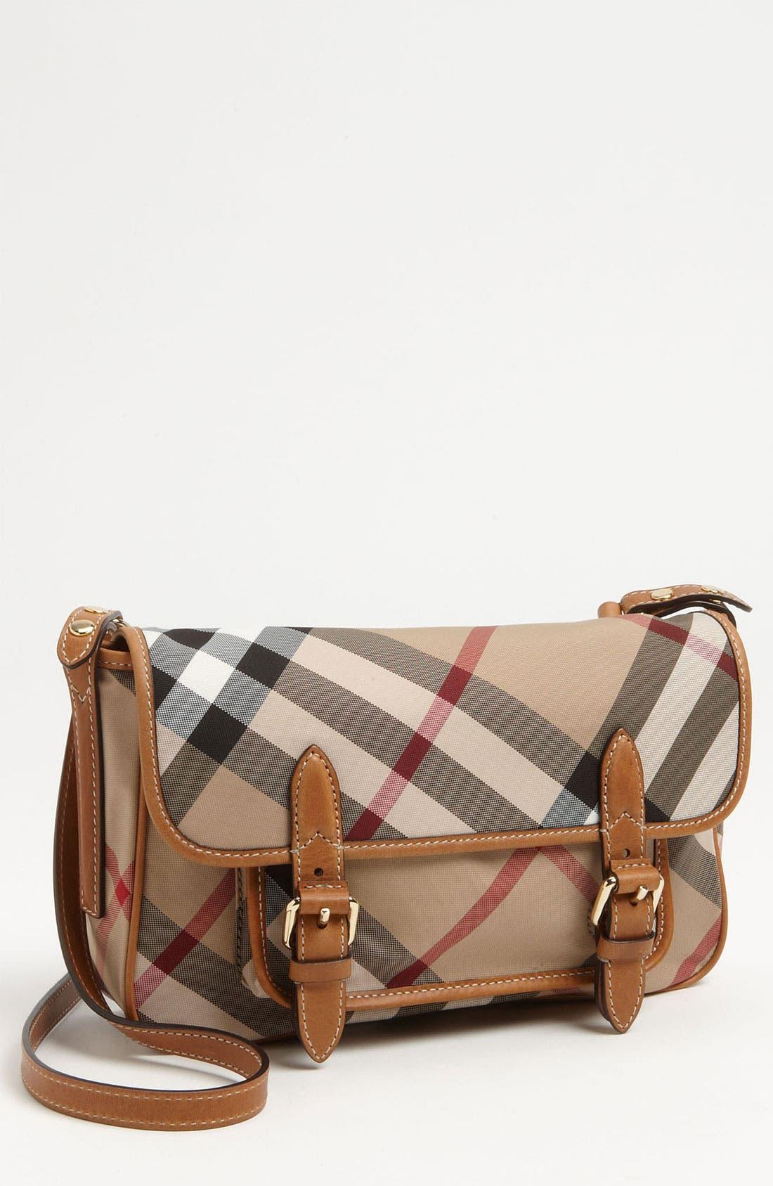 Alternate Image 1 Selected - Burberry 'Liv' Check Print Crossbody Bag (Girls)
