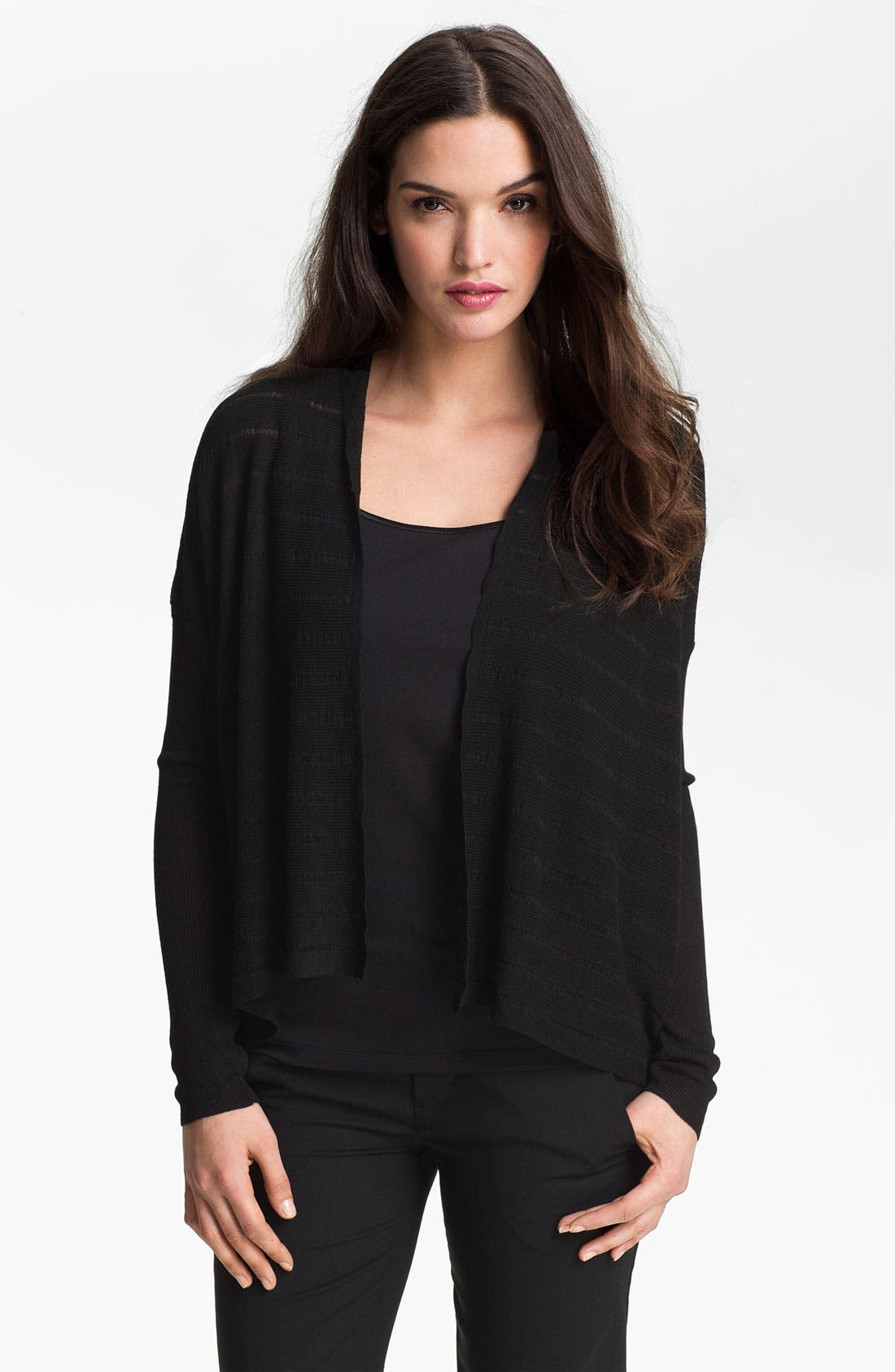 Alternate Image 1 Selected - Eileen Fisher Drape Front Mélange Cardigan (Petite)