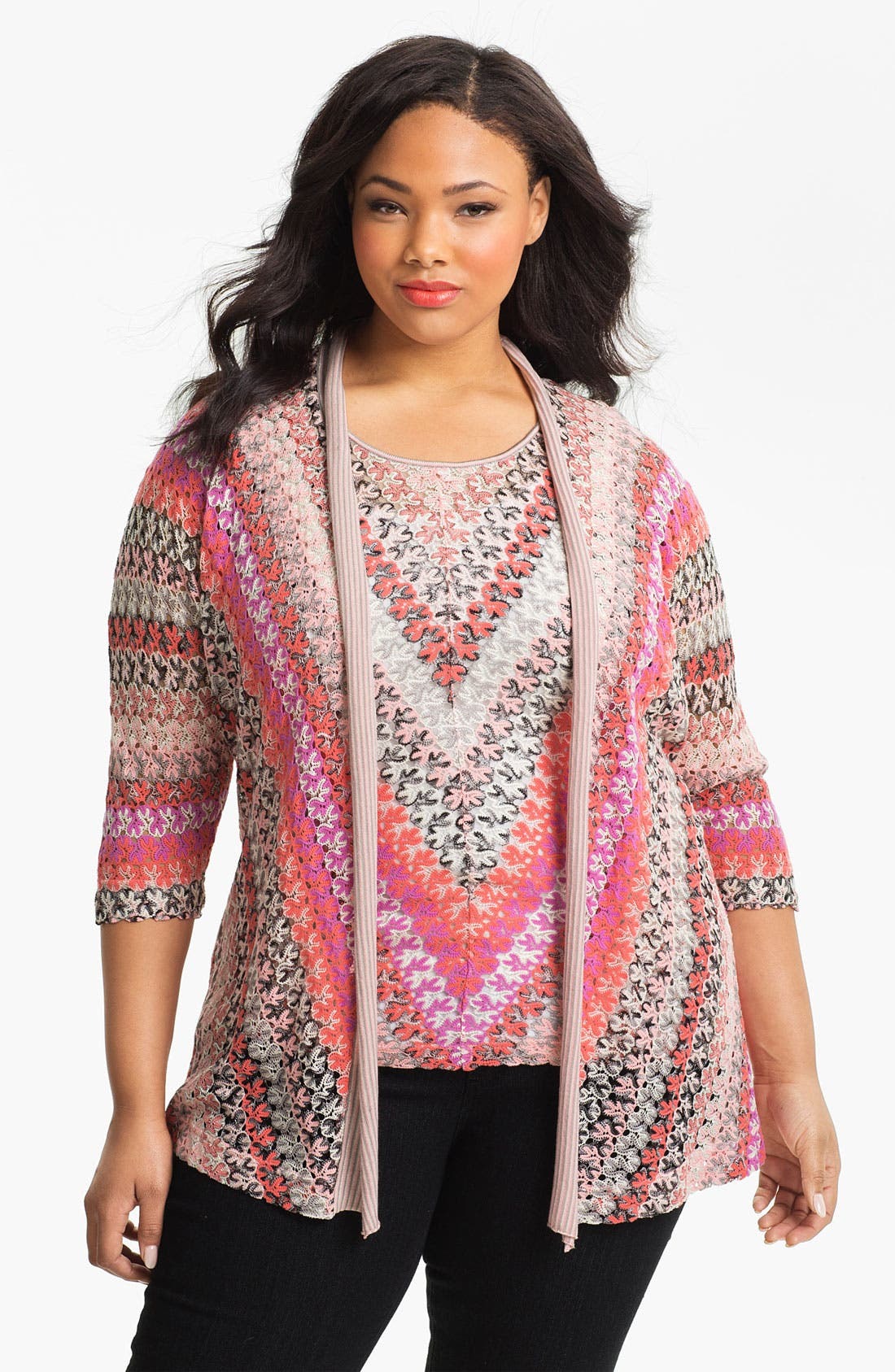 Main Image - Nic + Zoe Lace Weave Cardigan (Plus)