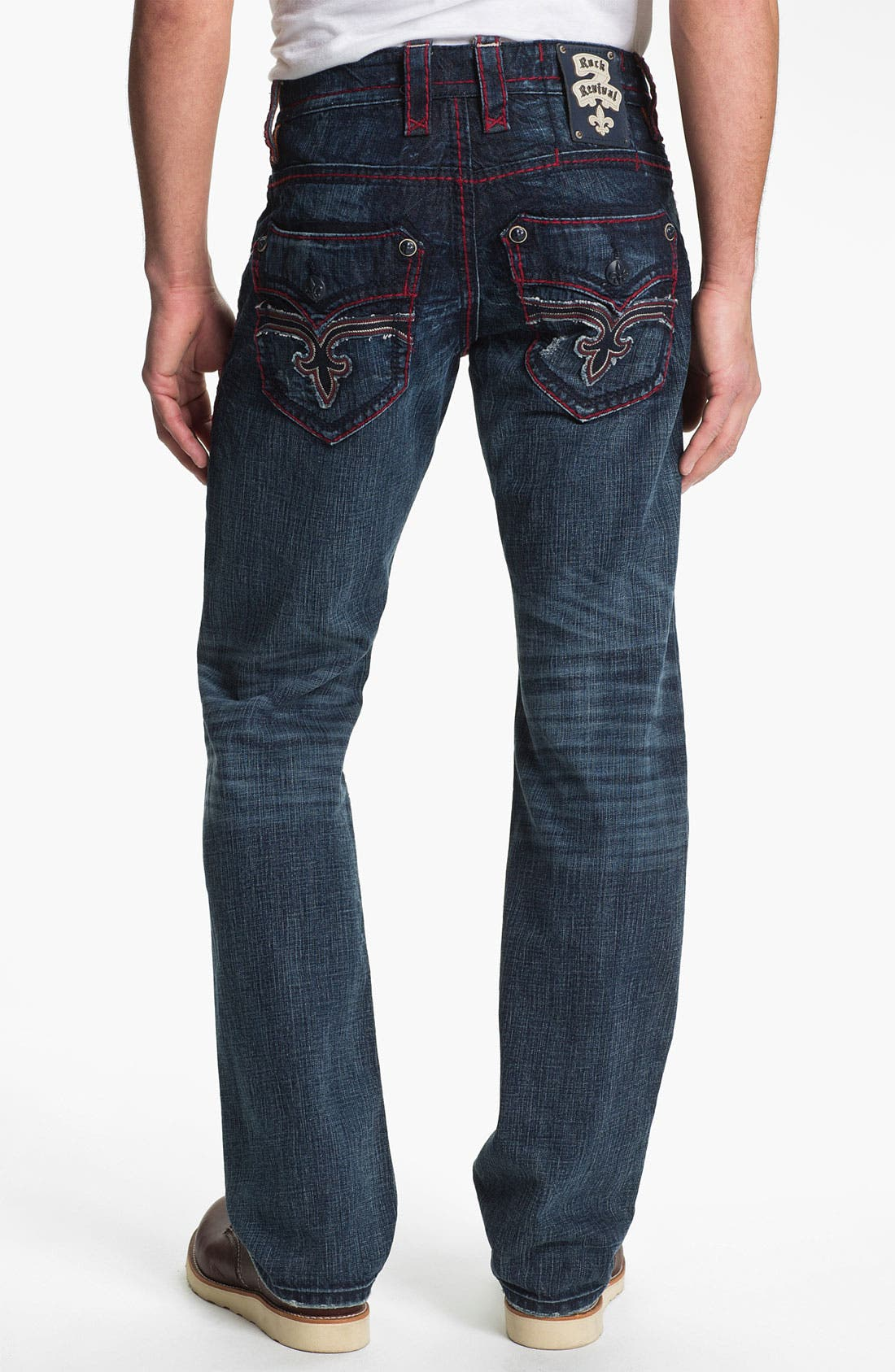 Alternate Image 1 Selected - Rock Revival 'Dan' Straight Leg Jeans (Dark Blue)