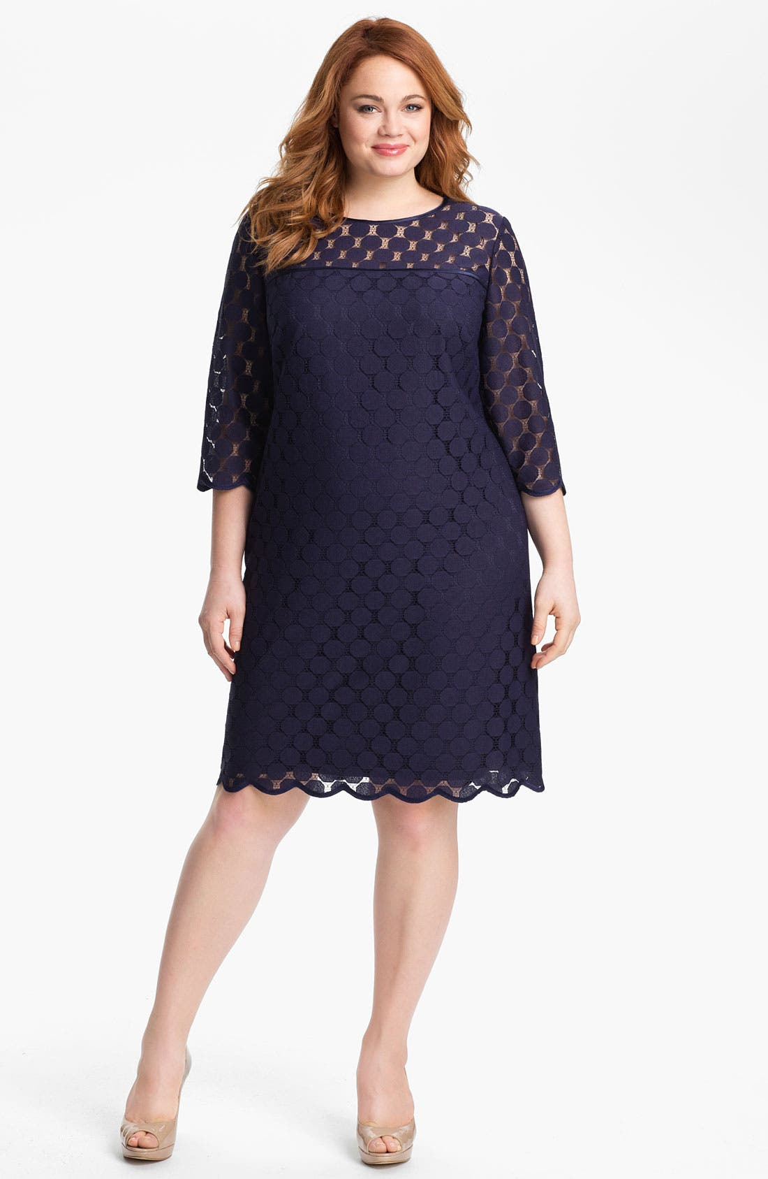 Main Image - Adrianna Papell Polka Dot Lace Dress (Plus Size)