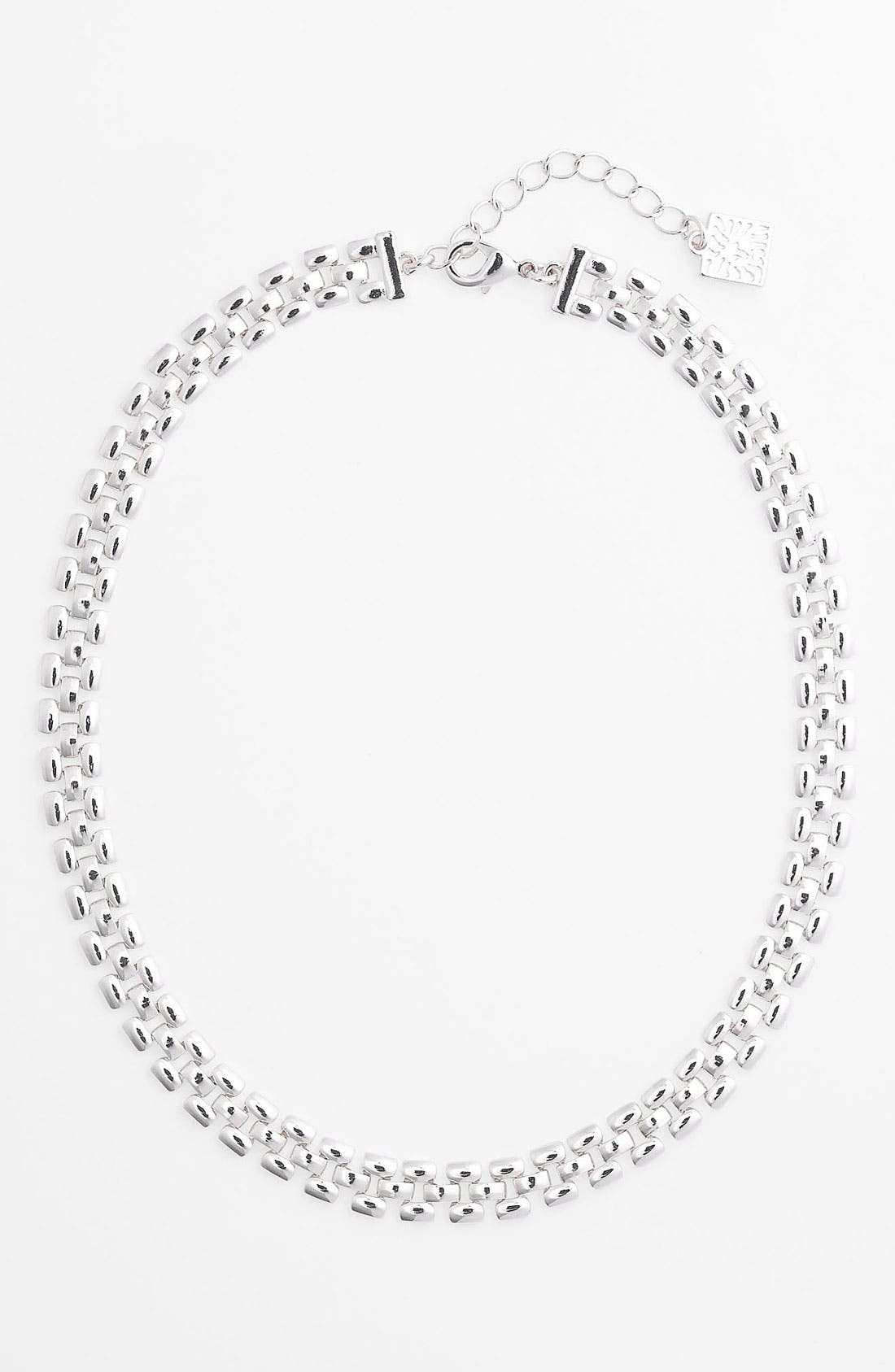 Main Image - Anne Klein Thin Lattice Link Collar Necklace
