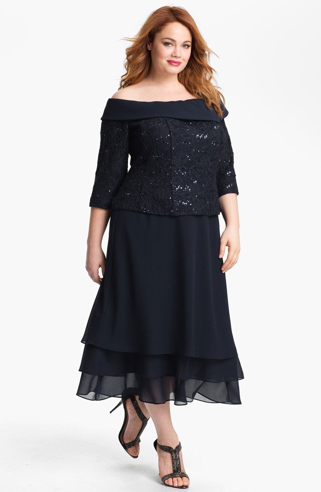 Main Image - Alex Evenings Sequin Lace Top & Tiered Skirt (Plus)