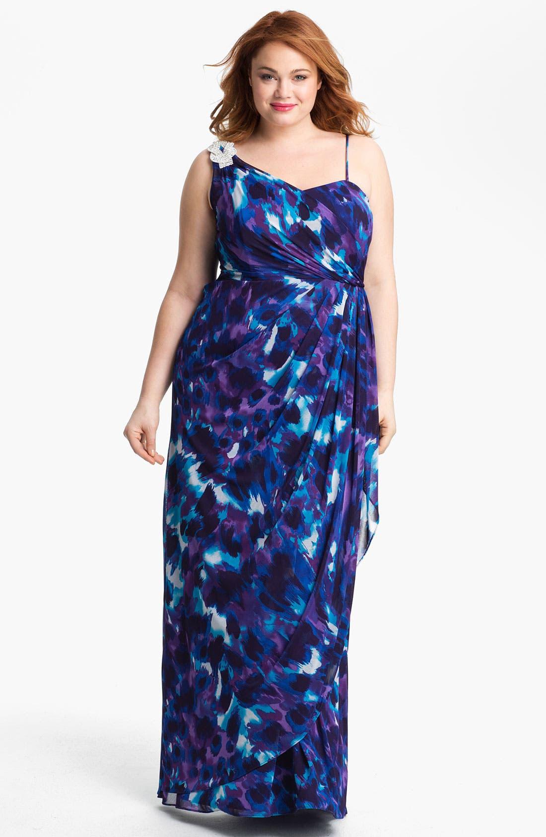 Alternate Image 1 Selected - Xscape Embellished Shoulder Print Mesh Dress (Plus Size) (Online Only)