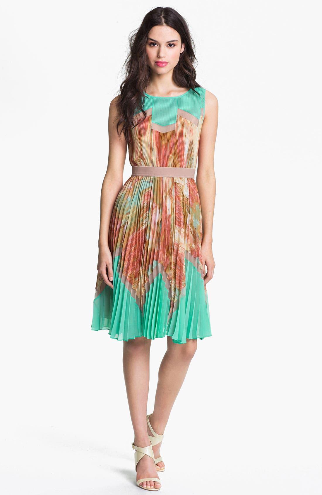 Main Image - BCBGMAXAZRIA Pleated Print Dress