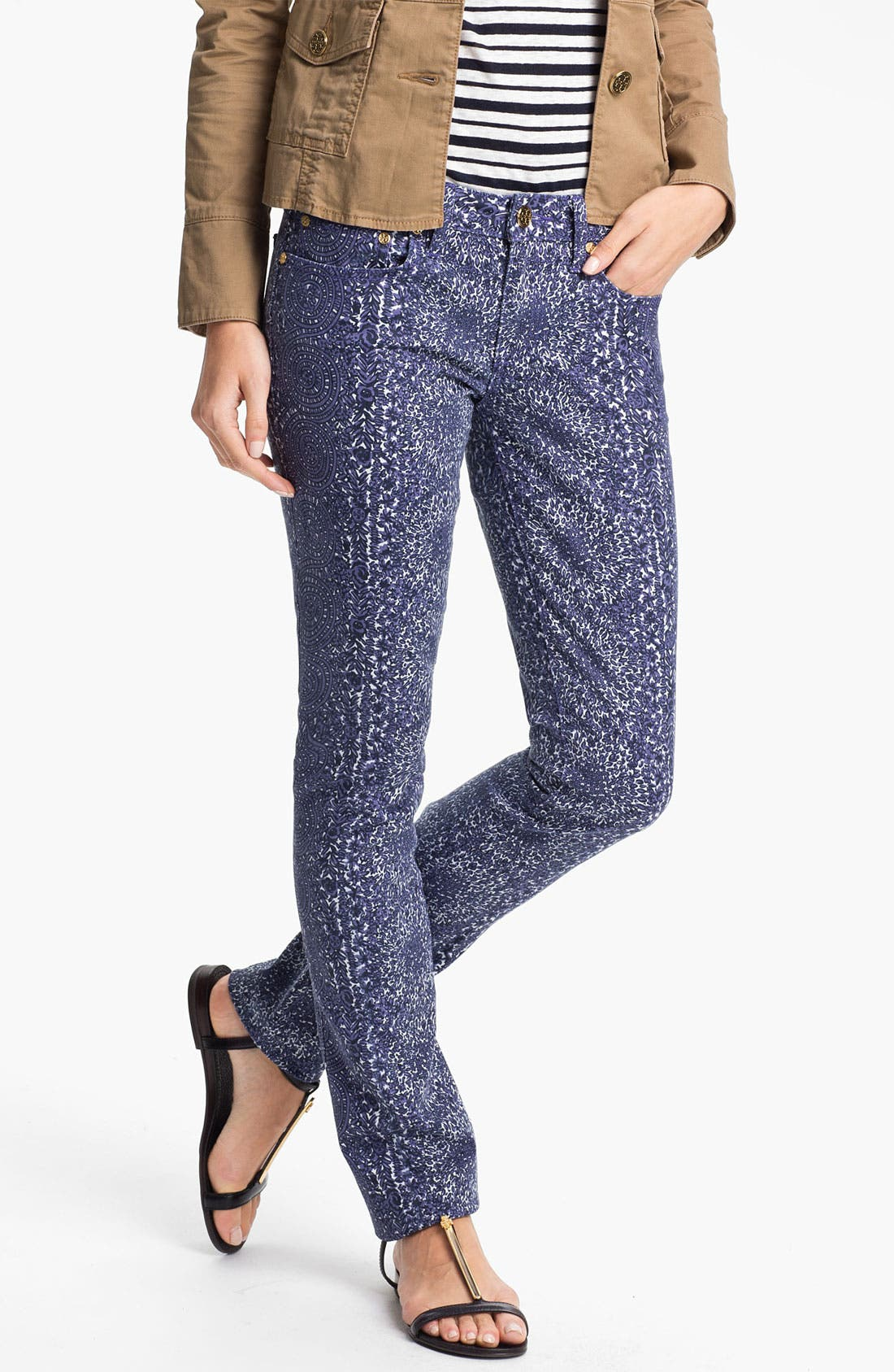 Main Image - Tory Burch 'Ivy' Print Skinny Jean