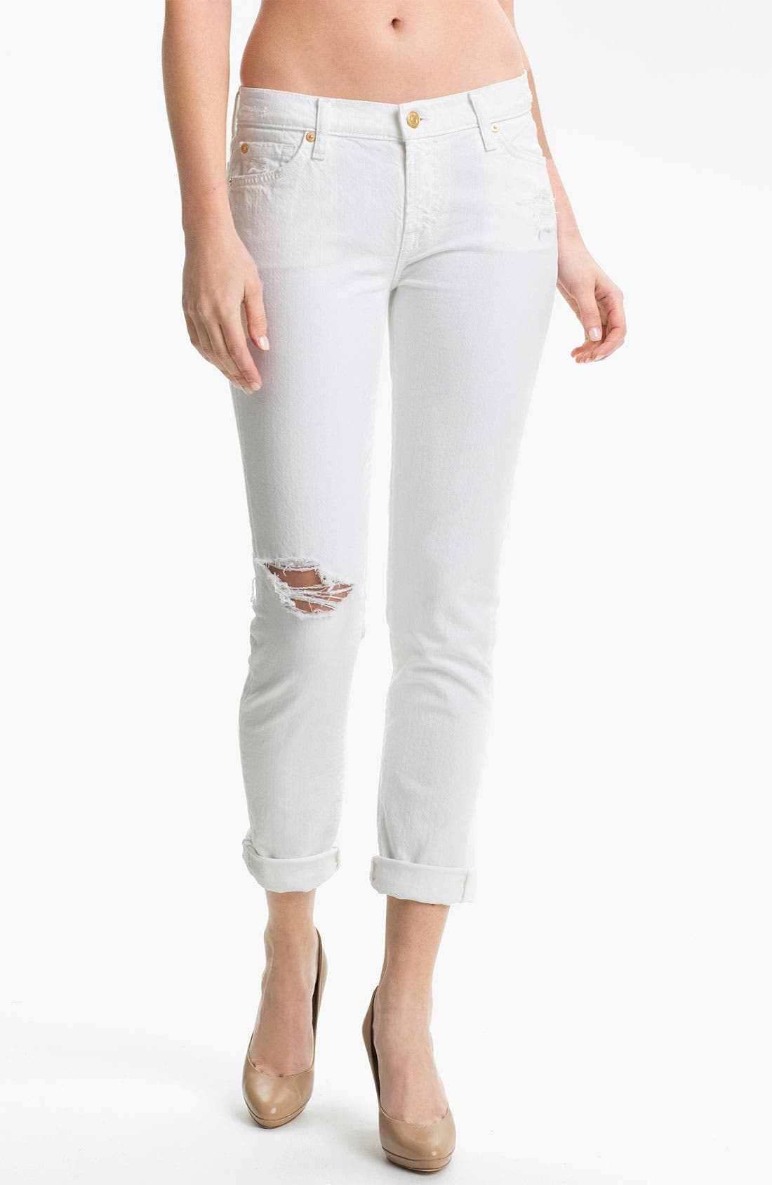 Main Image - 7 For All Mankind® 'The Slim Cigarette' Stretch Jeans (White Destroyed)