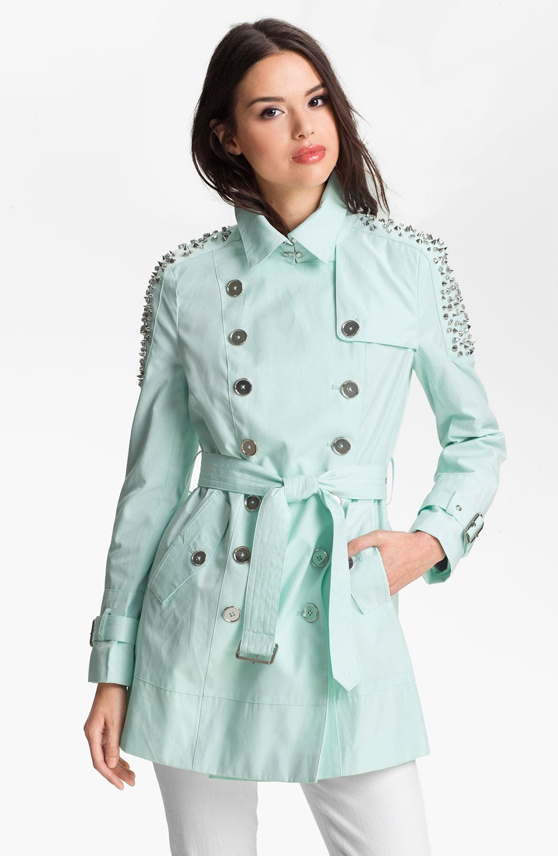 Alternate Image 1 Selected - Sam Edelman Embellished Shoulder Trench Coat (Online Only)