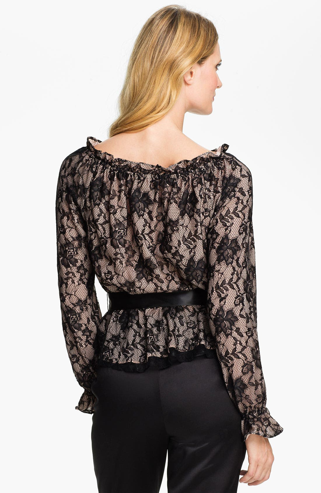 Alternate Image 2  - Adrianna Papell Bishop Sleeve Lace Blouse (Petite)