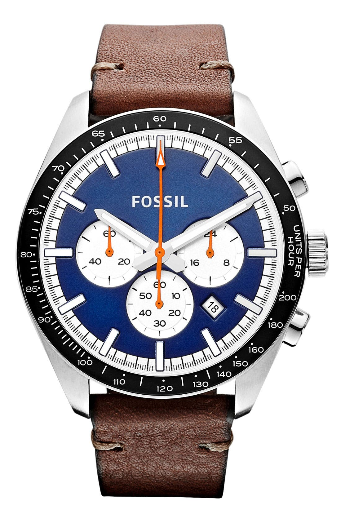 Alternate Image 1 Selected - Fossil 'Edition Sport' Chronograph Leather Strap Watch, 45mm