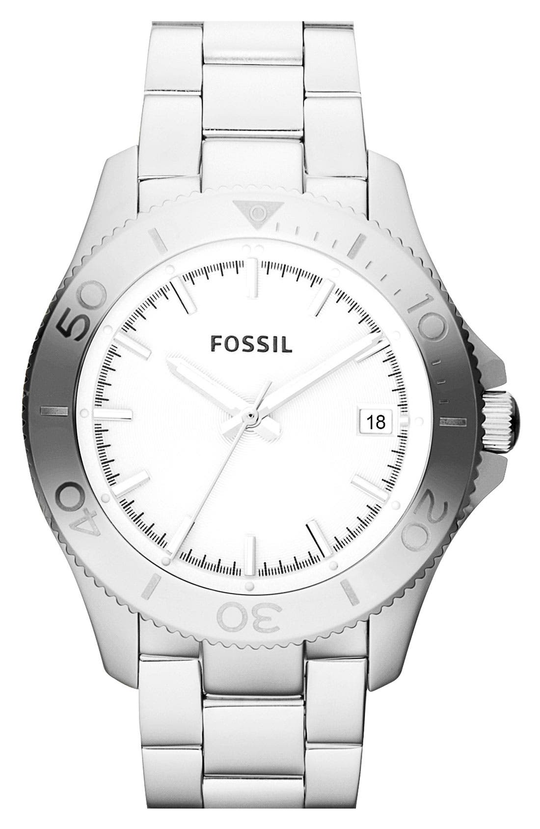Main Image - Fossil 'Retro Traveler' Bracelet Watch, 36mm