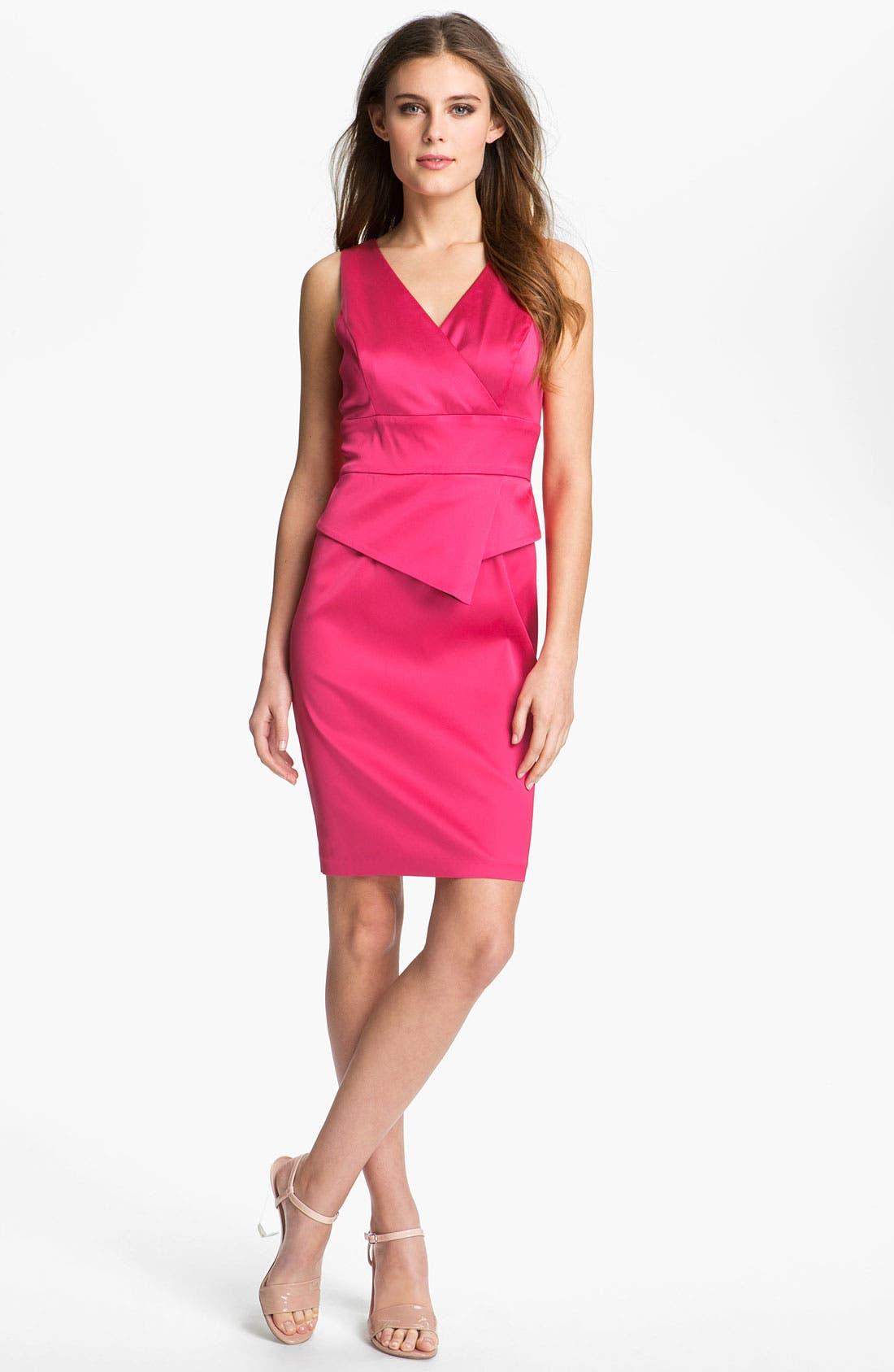 Main Image - Donna Ricco Satin Peplum Sheath Dress