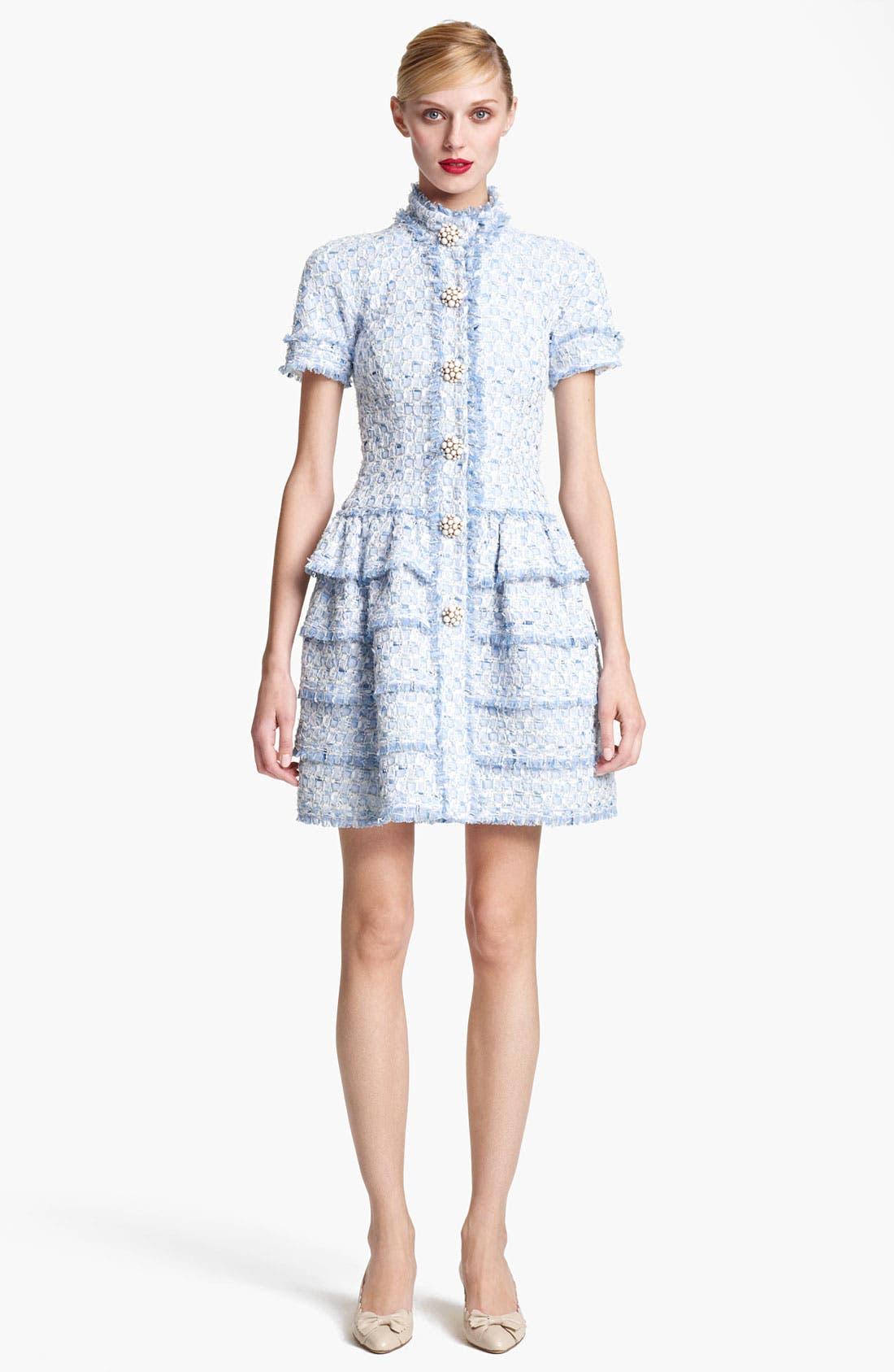 Main Image - Oscar de la Renta Tiered Tweed Dress