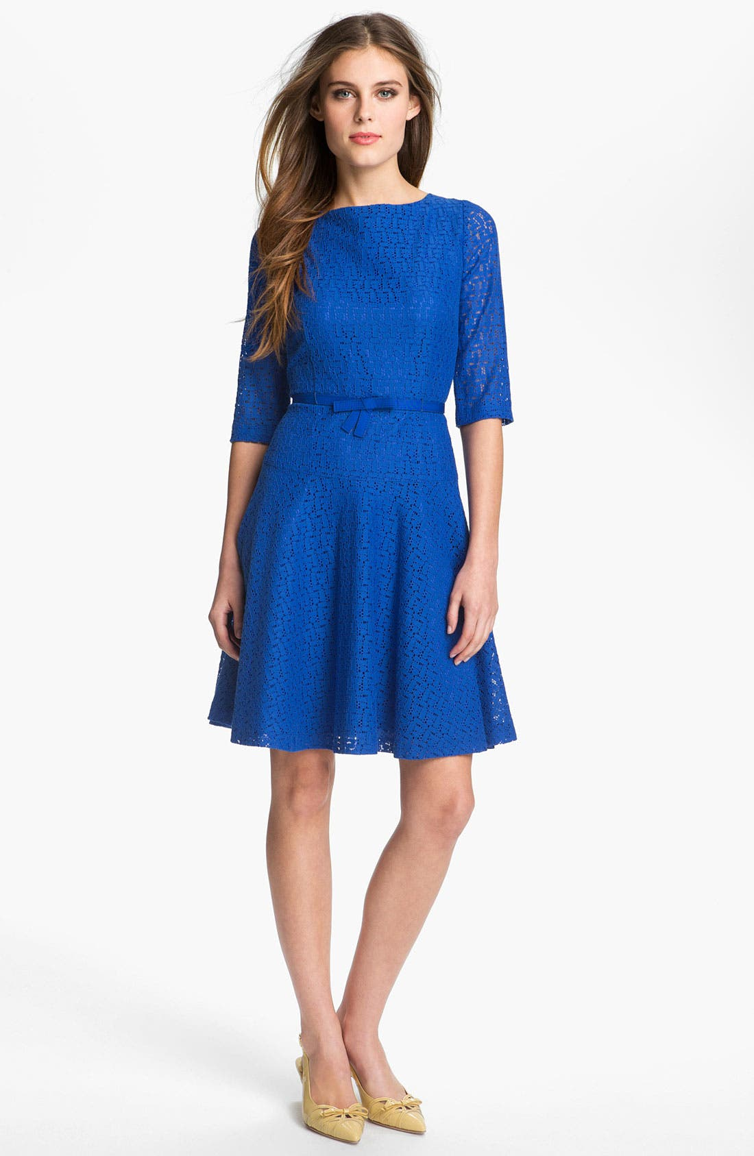 Alternate Image 1 Selected - Tahari Belted Lace Fit & Flare Dress