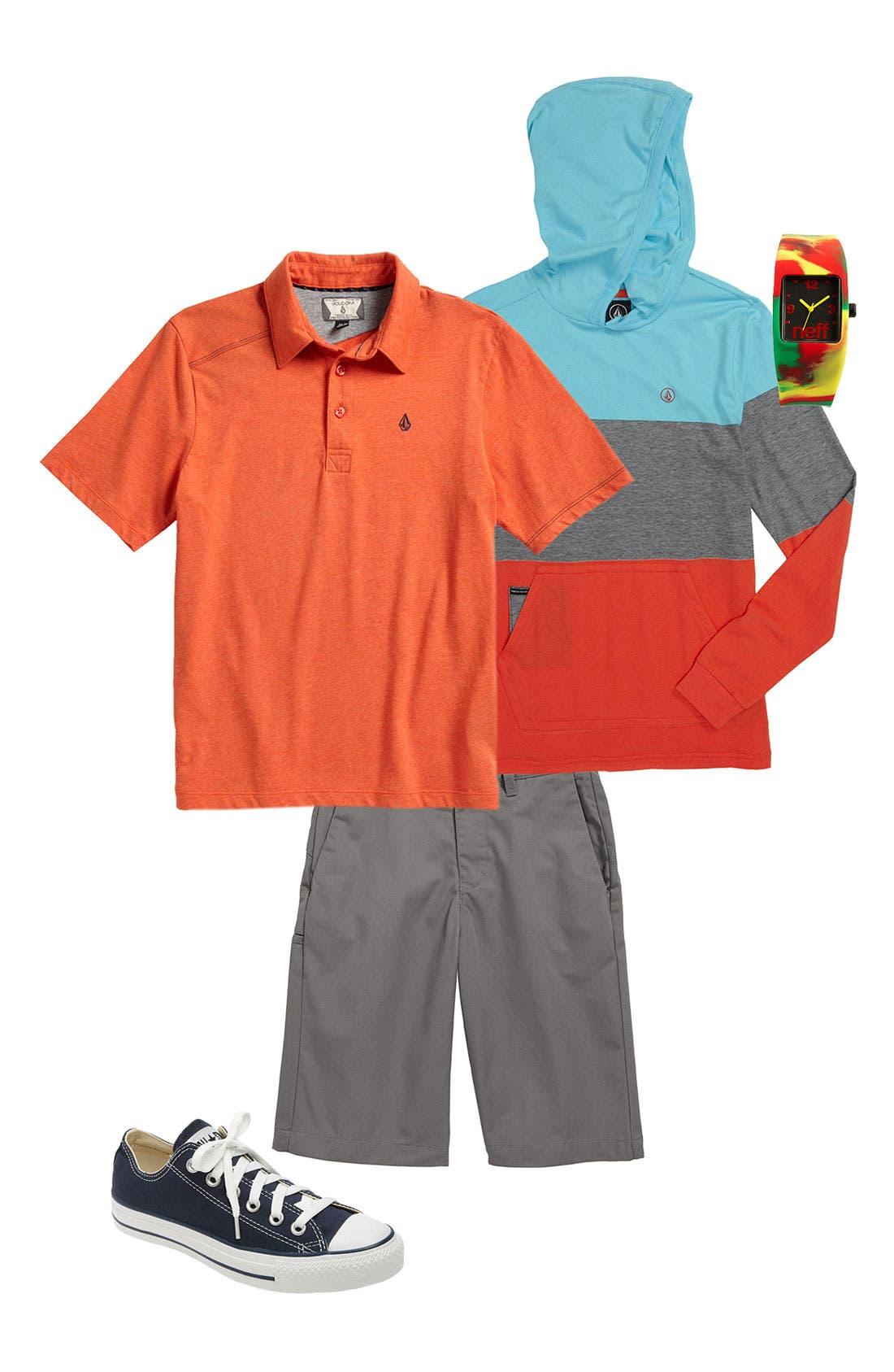 Alternate Image 1 Selected - Volcom Polo, Hoodie & Chino Shorts (Big Boys)