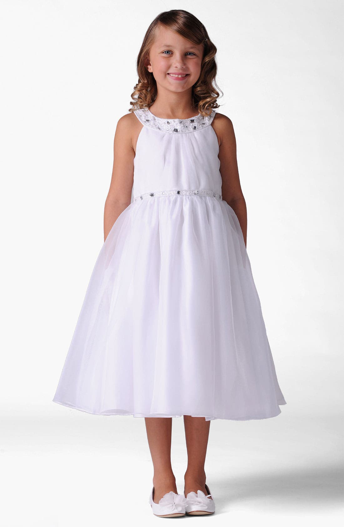 Alternate Image 1 Selected - Us Angels Jewel Neck Dress (Little Girls & Big Girls)
