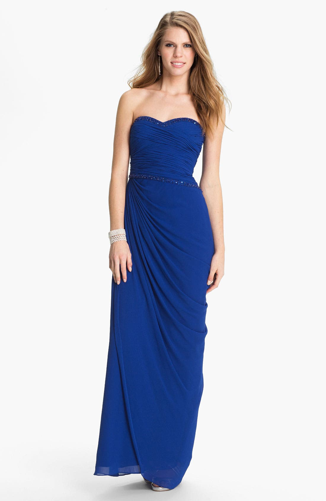 Alternate Image 1 Selected - Aidan Mattox Embellished Ruched Chiffon Gown