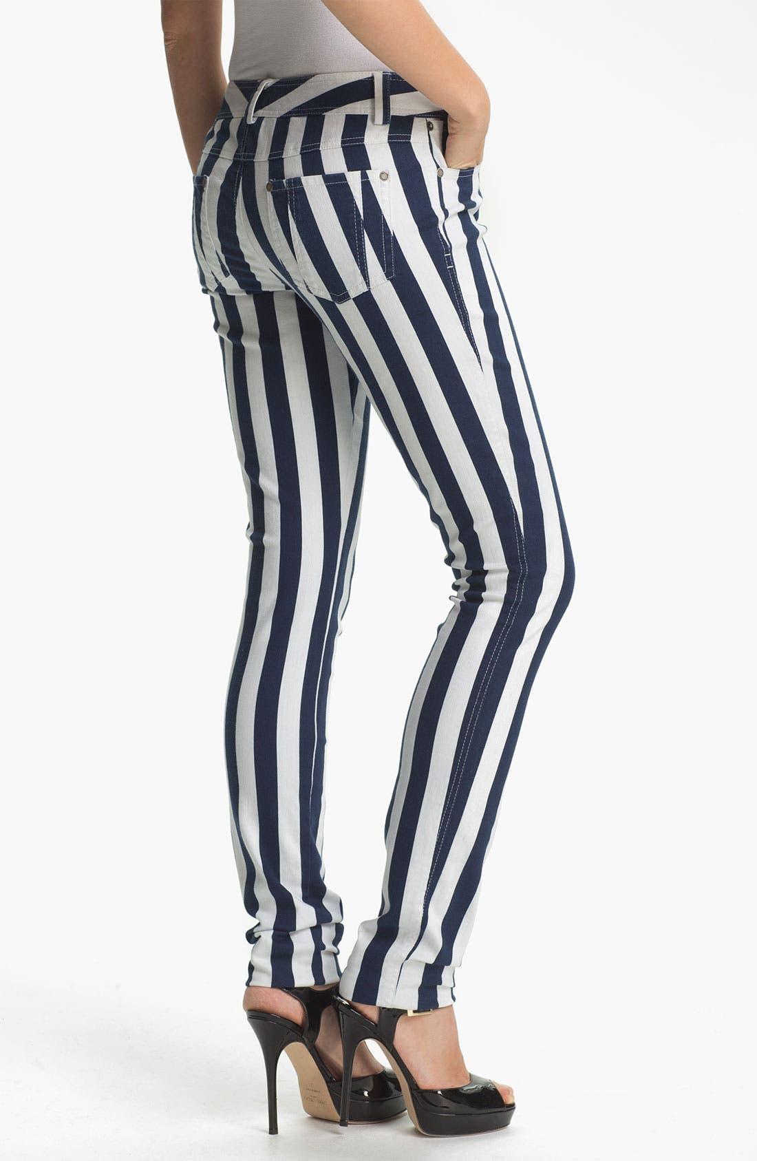 Alternate Image 2  - Alice + Olivia Stripe Skinny Jeans