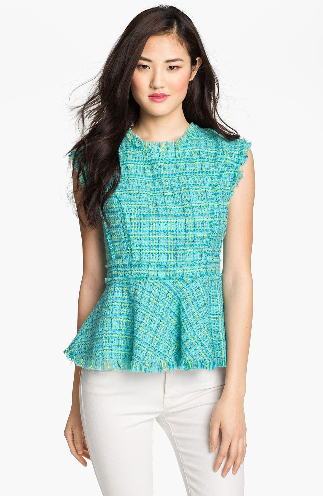 Main Image - Vince Camuto Tweed Peplum Blouse