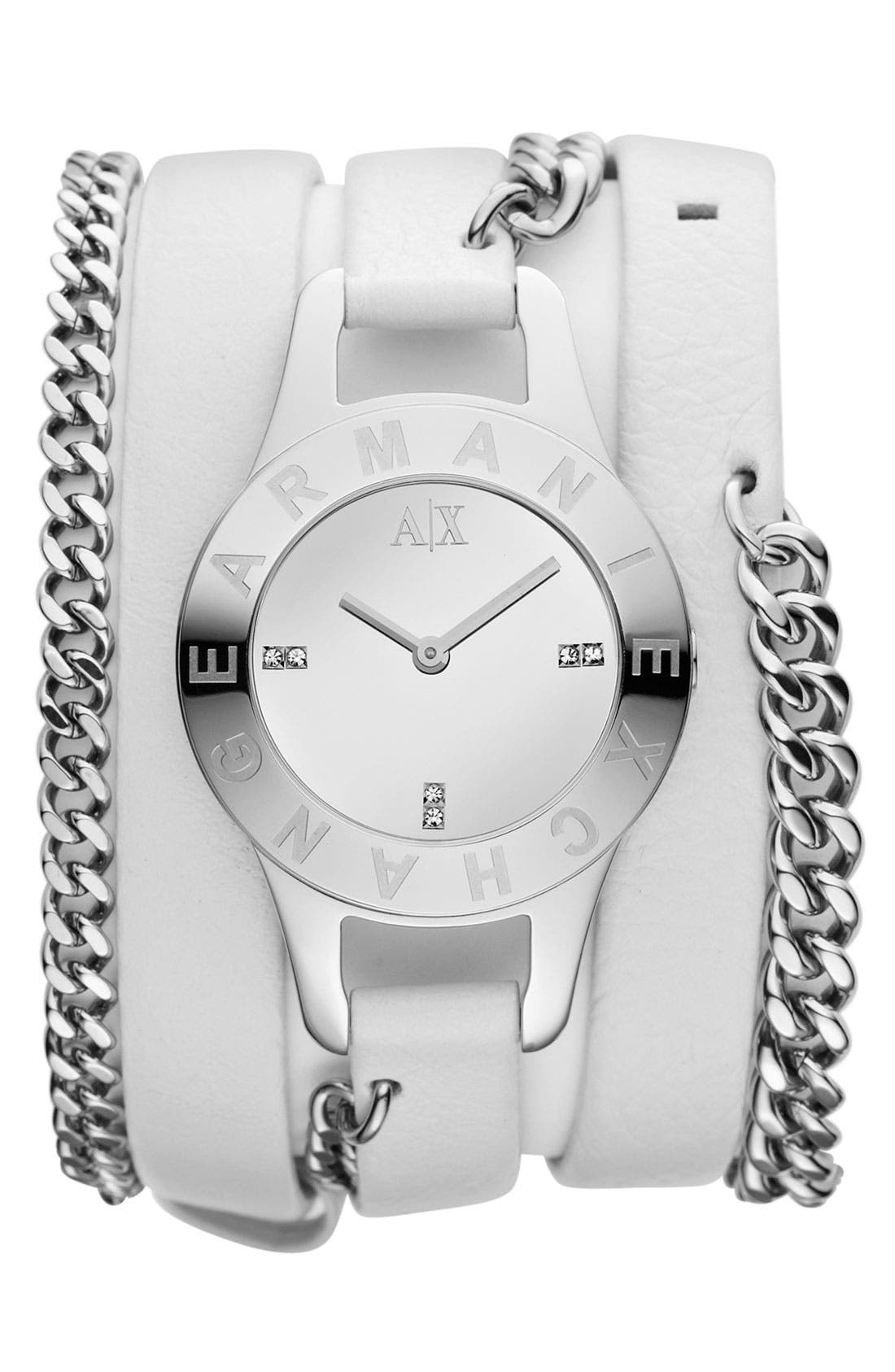 Alternate Image 1 Selected - AX Armani Exchange Double Wrap Watch, 30mm (Online Only)
