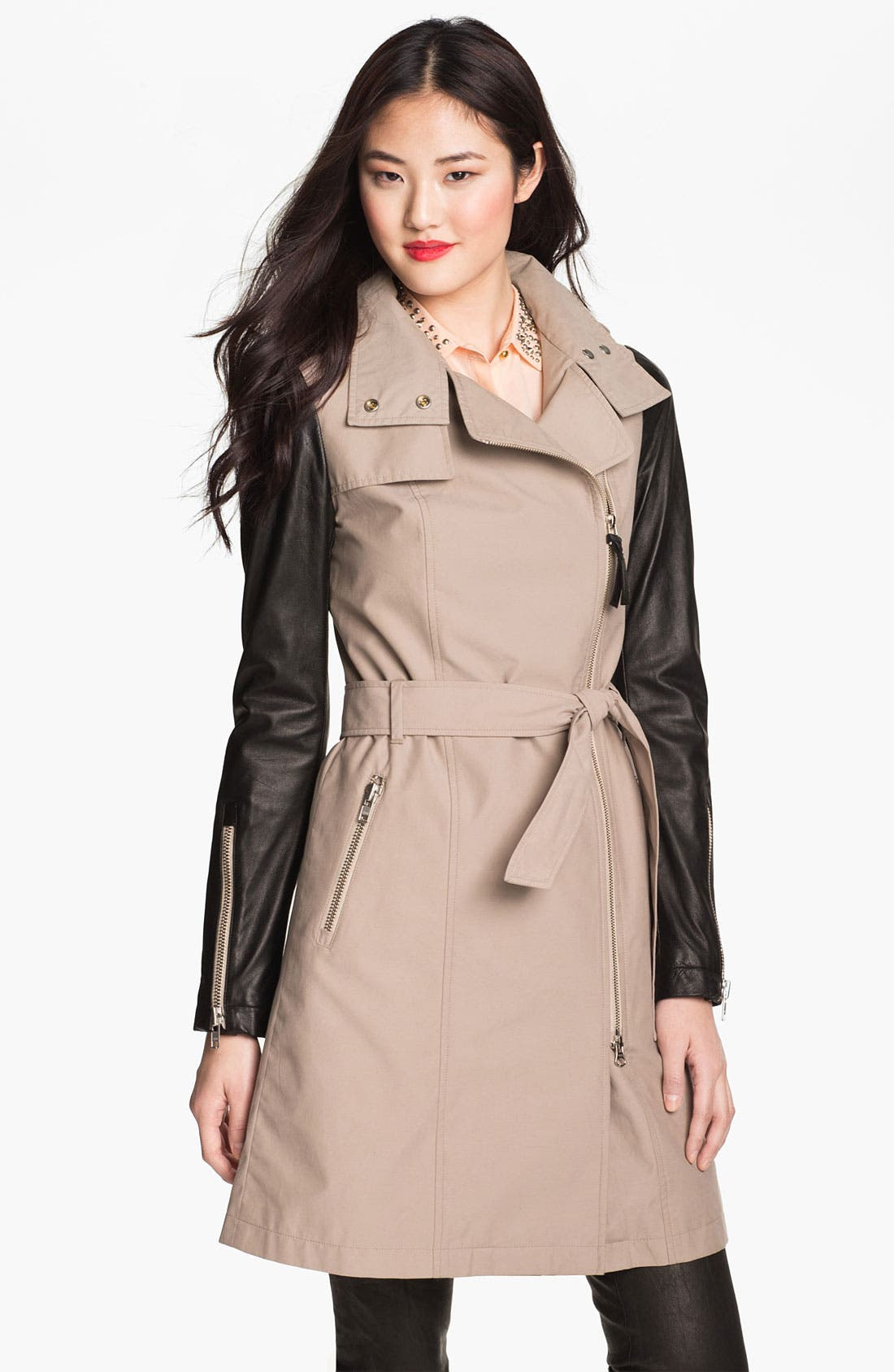 Alternate Image 1 Selected - Mackage Leather Sleeve Trench Coat